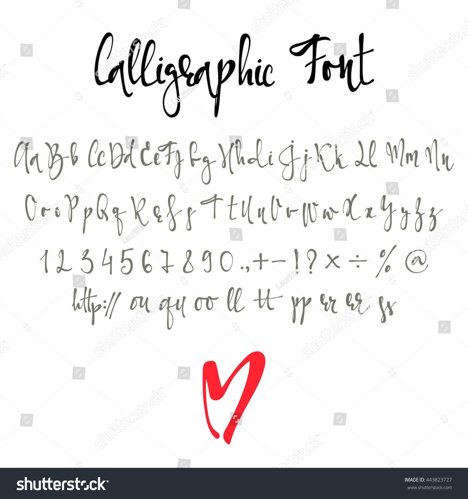 Calligraphy alphabet modern handmade font letters stock