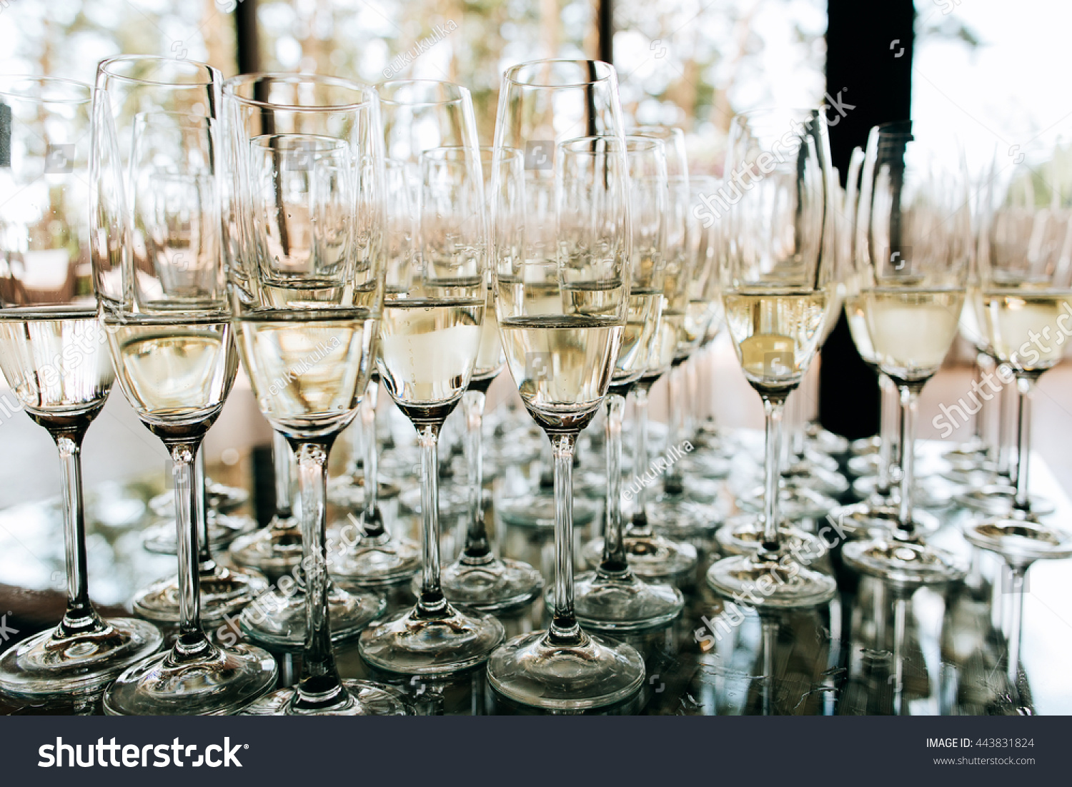 Champagne Glasses Closeup Wedding Reception Alcohol Stock Photo