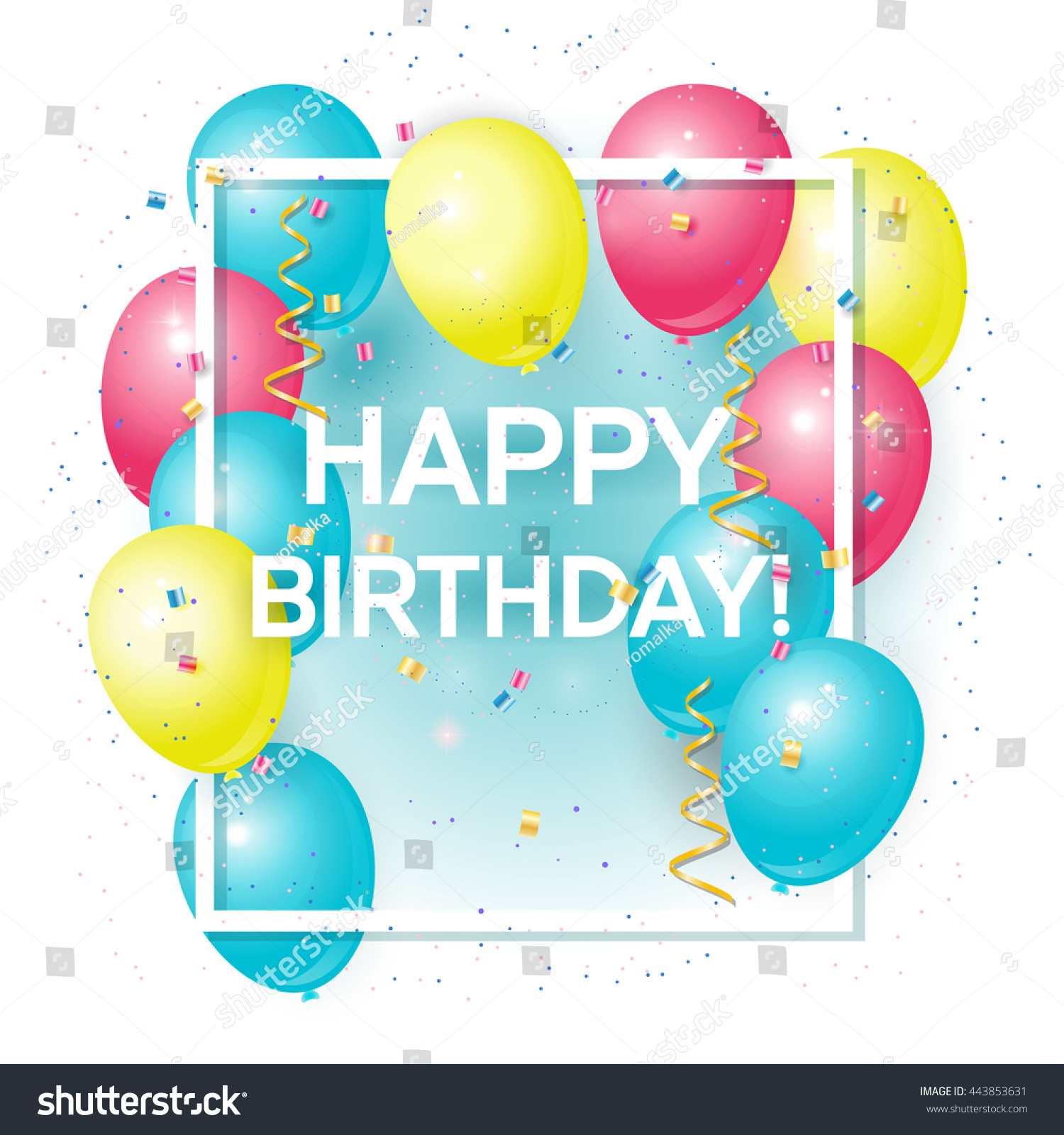 Happy Birthday Greeting Card With Volume Colored Balloons And Sample Text Can Be Used As