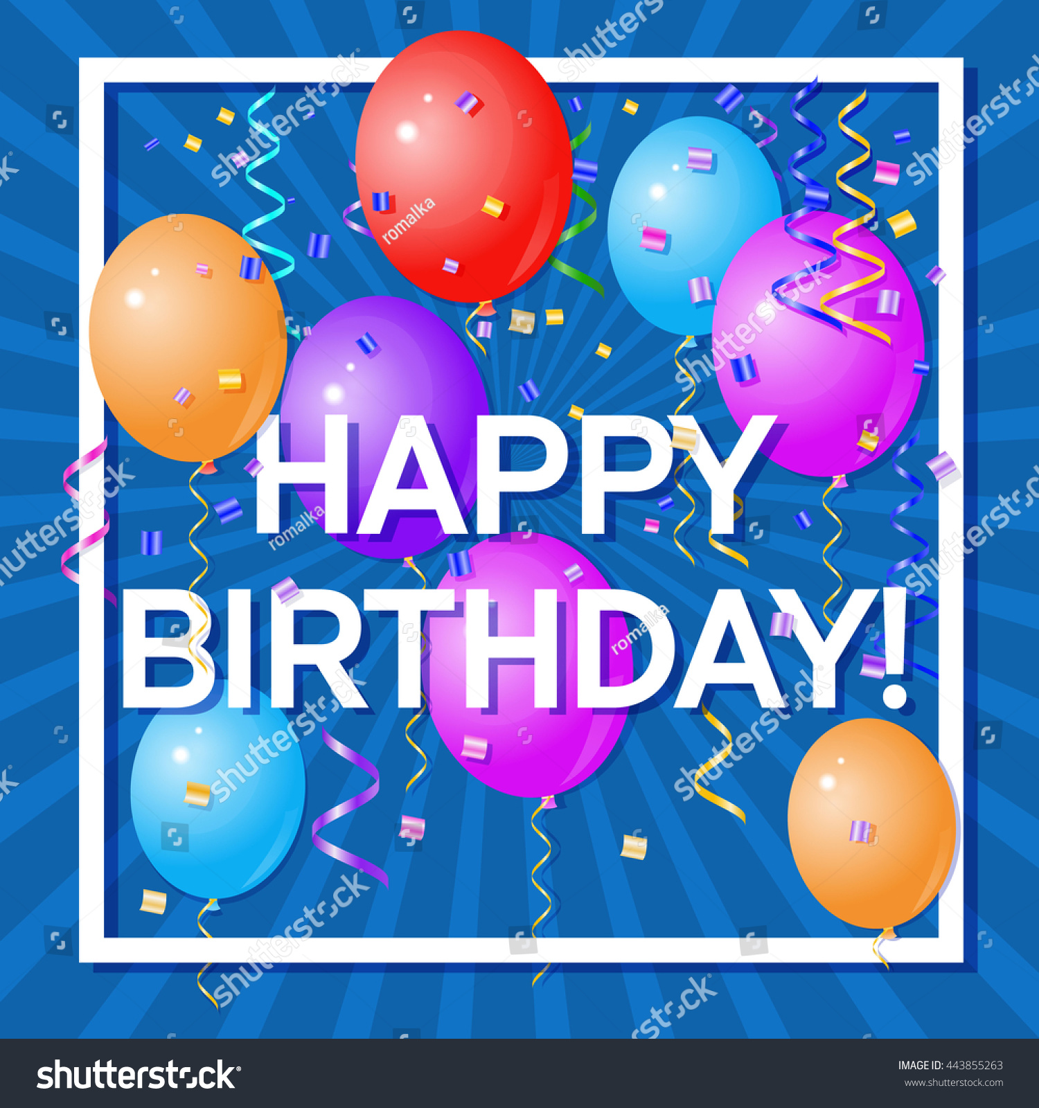 Happy Birthday Greeting Card Volume Colored Stock Vector Royalty