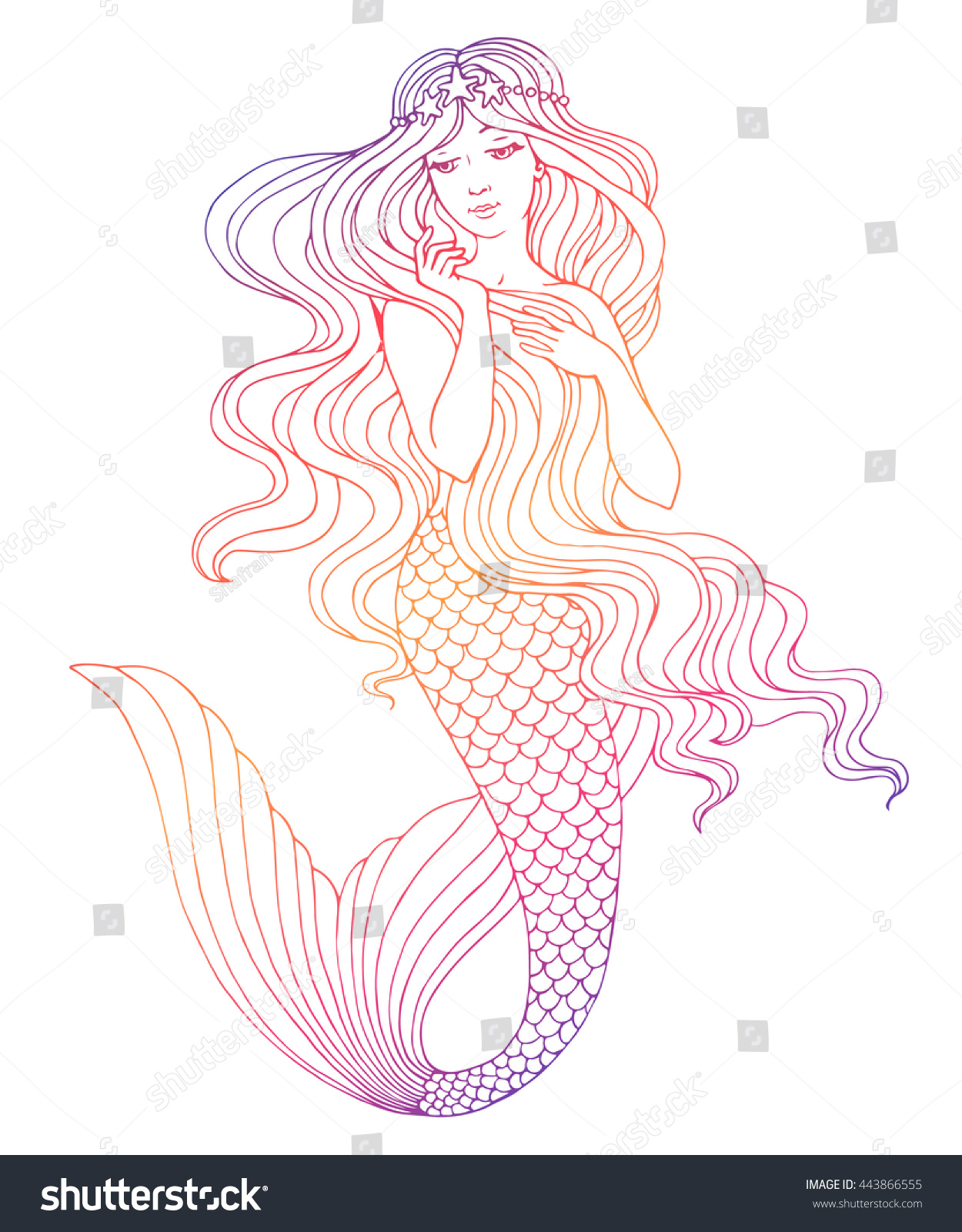 Hand painted mermaid watercolor vector silhouette stock vector - Hand Drawn Mermaid On White Background Linen Vector Illustration