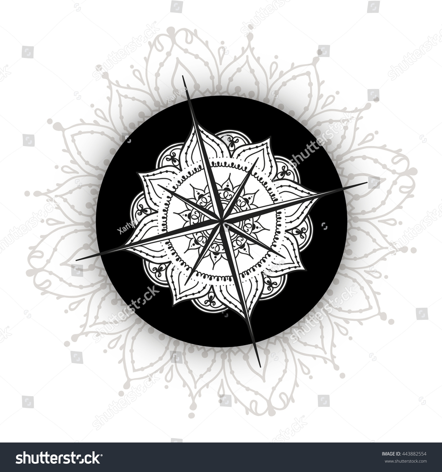 Graphic wind rose compass drawn with floral elements nautical vector illustration can be used for
