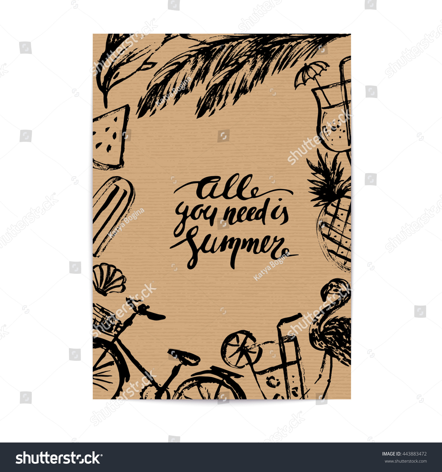 Craft Brown Paper Design Template Ink Stock Vector Royalty Free