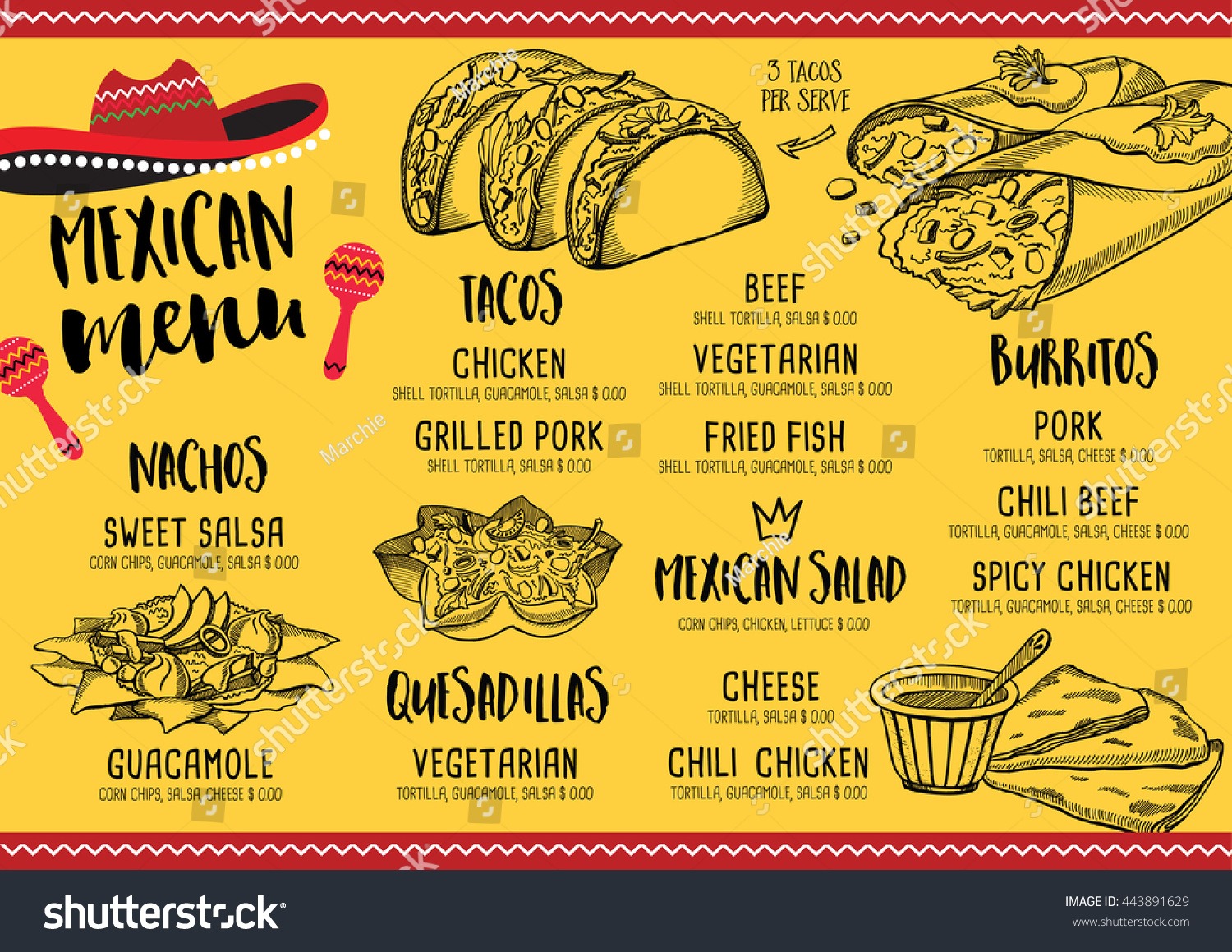 Mexican Menu Placemat Food Restaurant Menu Stock Vector Royalty