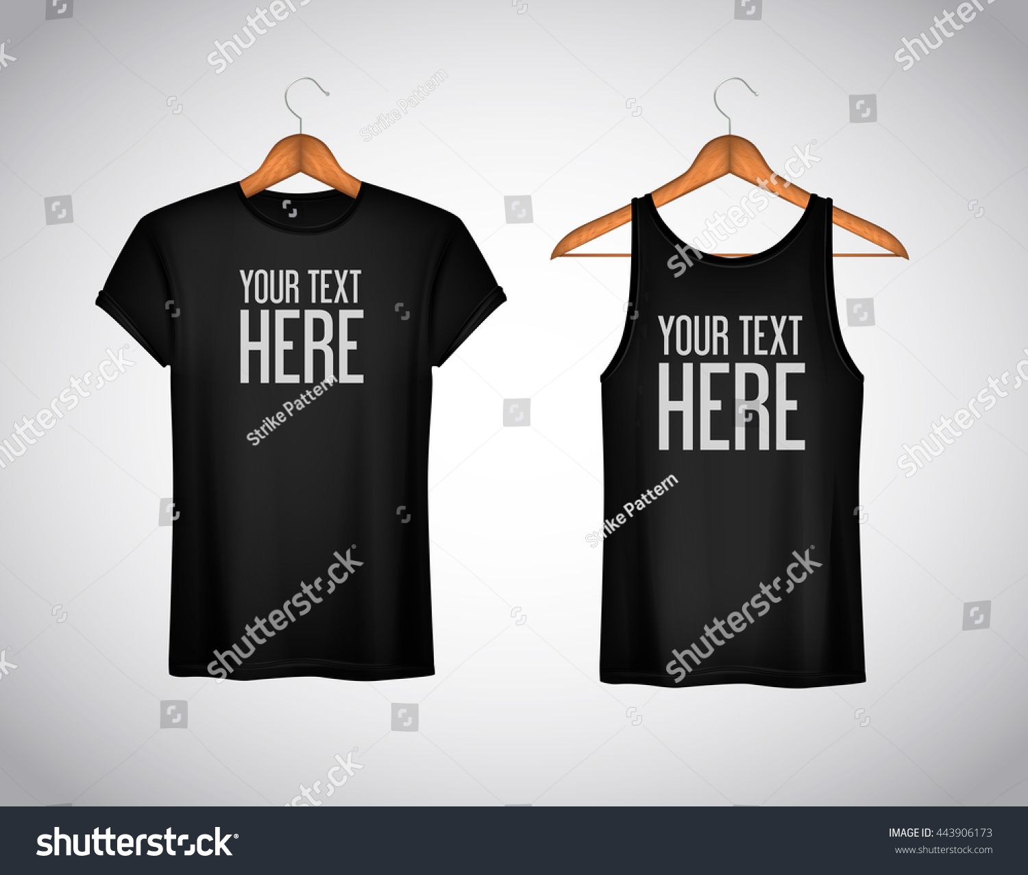 T shirt white brand - Men Black Tank Top And T Shirt Realistic Mockup Whit Brand Text For Advertising