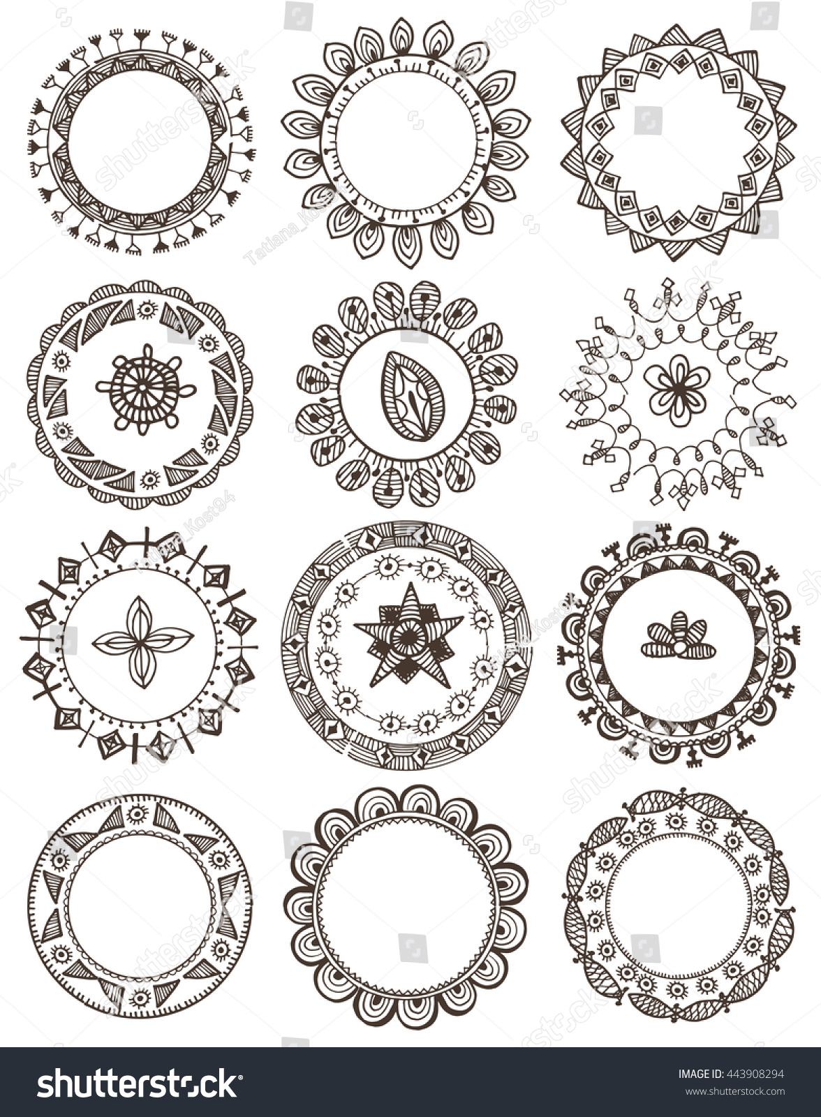 Mehndi Circle Vector : Indian mehndi pattern circle wreaths framesvector stock