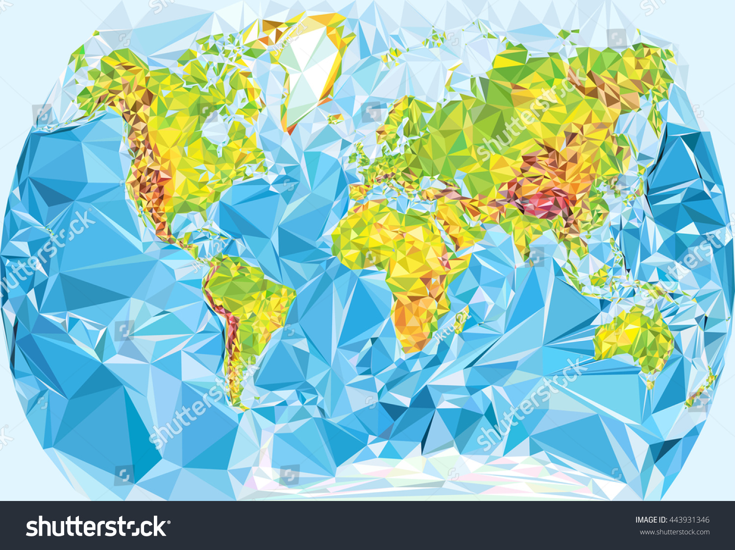 Vector physical world map polygonal style stock vector 443931346 vector physical world map in polygonal style gumiabroncs Gallery