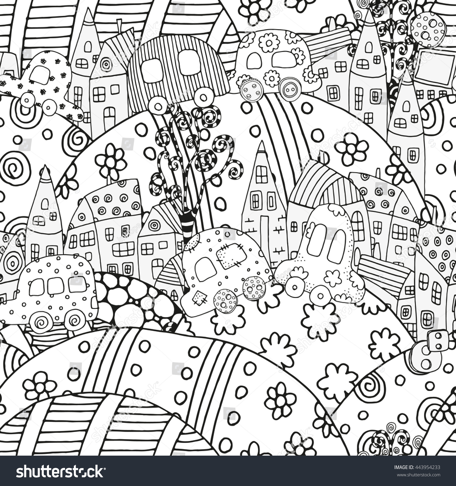 Raster Copy Coloring Book Page Adult Stock Illustration