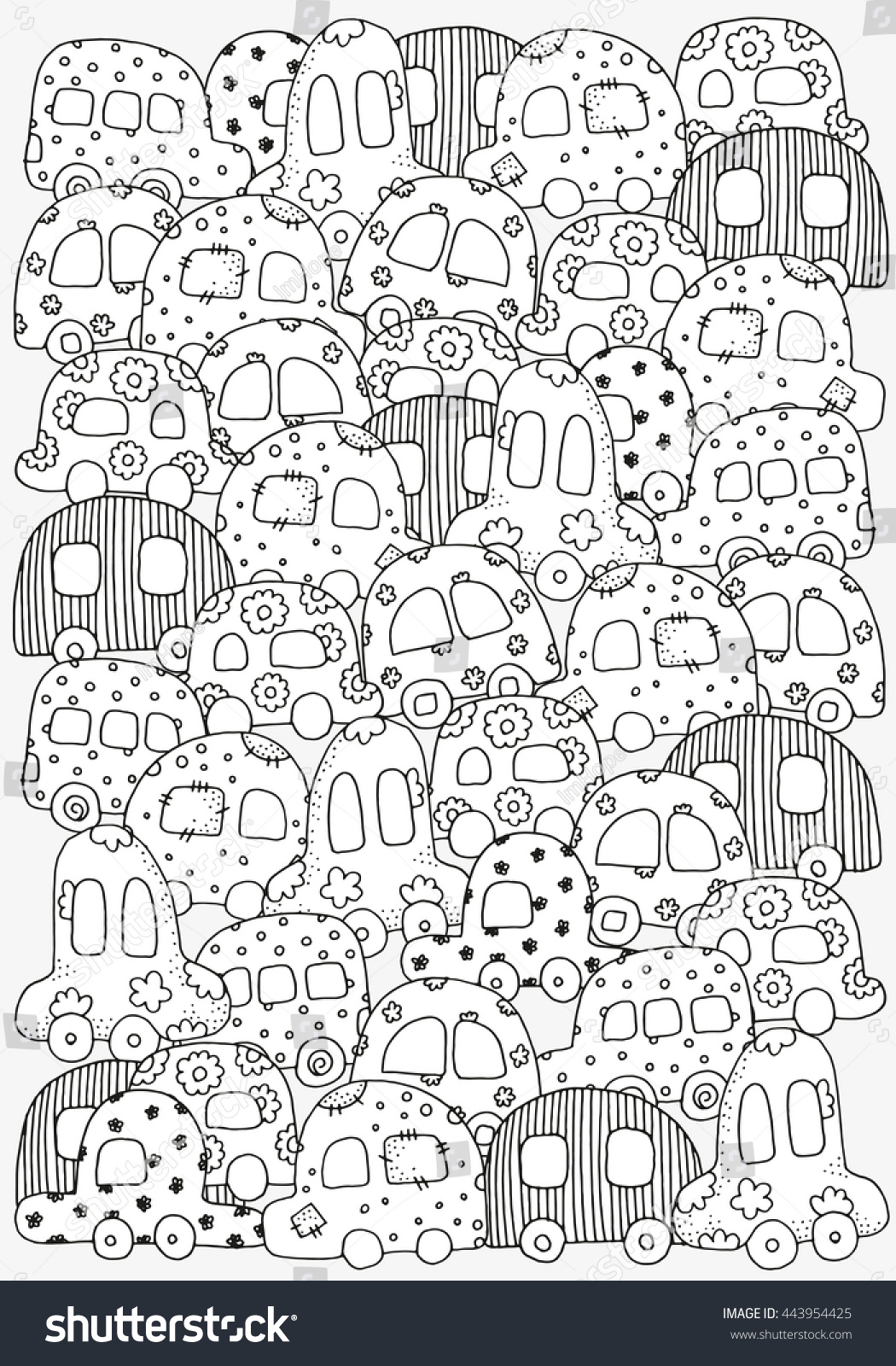 Th the magical city colouring in book - Pattern For Coloring Book With Doodle Style Hand Drawn Kids Cars A4
