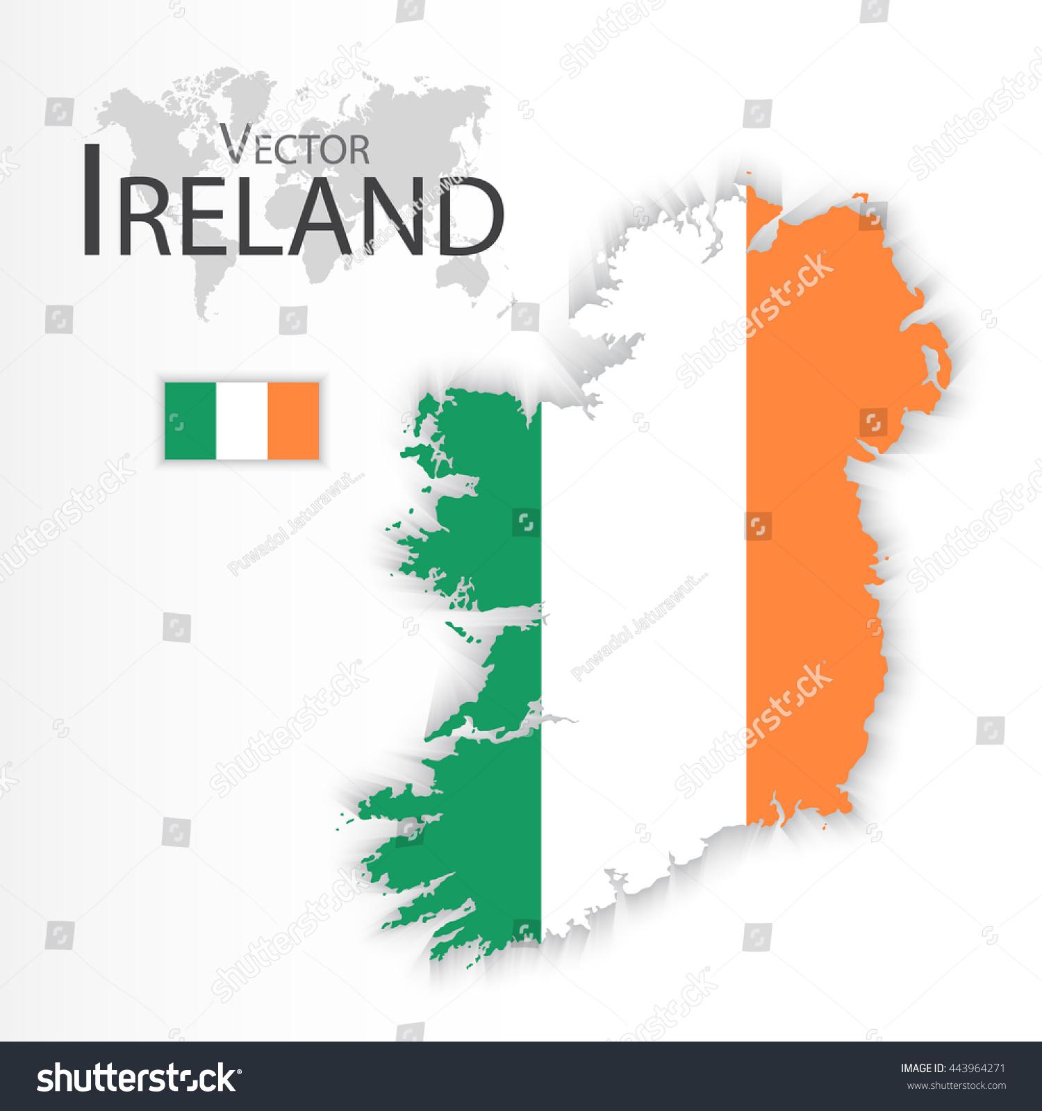 republic ireland flag map transportation tourism stock vector