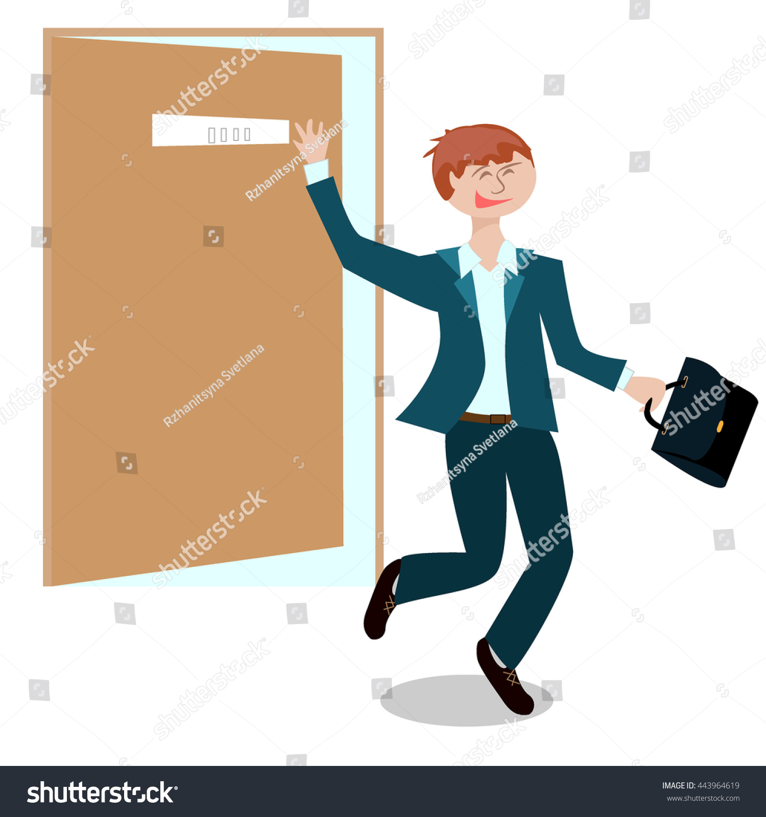young man jumping happily leaving office stock illustration young man jumping happily leaving the office after the interview to work and waving portfolio