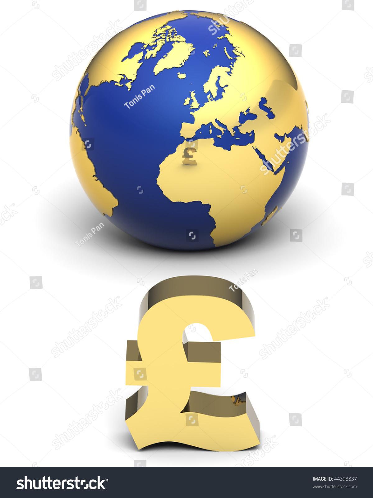 3 D Illustration Earth Globe Uk Pound Stock Illustration 44398837