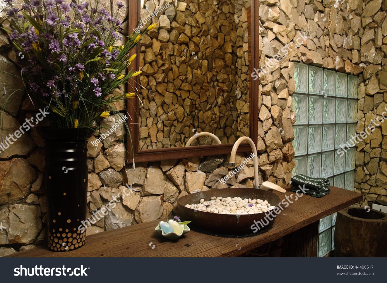 Thai Style Bathroom Stone Walls Stock Photo 44400517 - Shutterstock