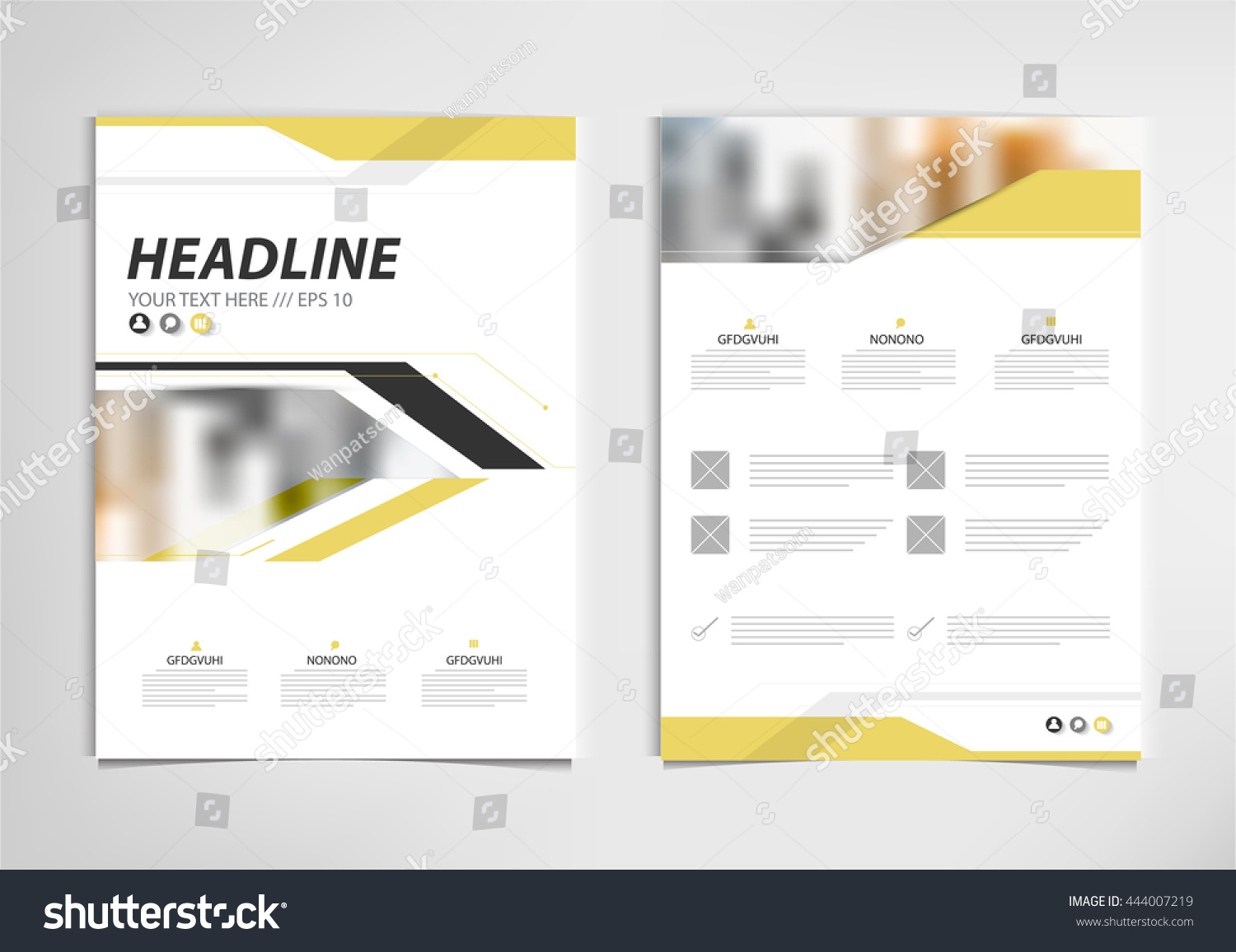 book report brochure template - yellow annual report brochure template design stock vector