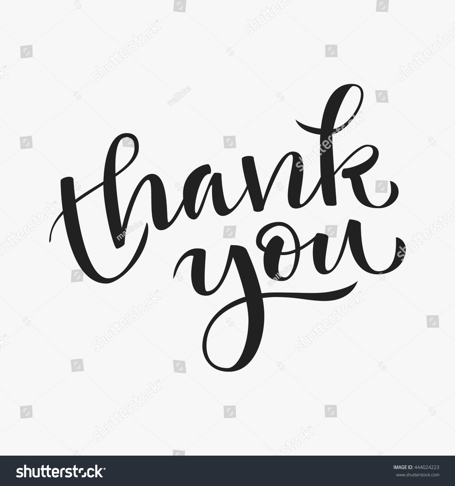 Thank you modern calligraphy hand drawn stock vector