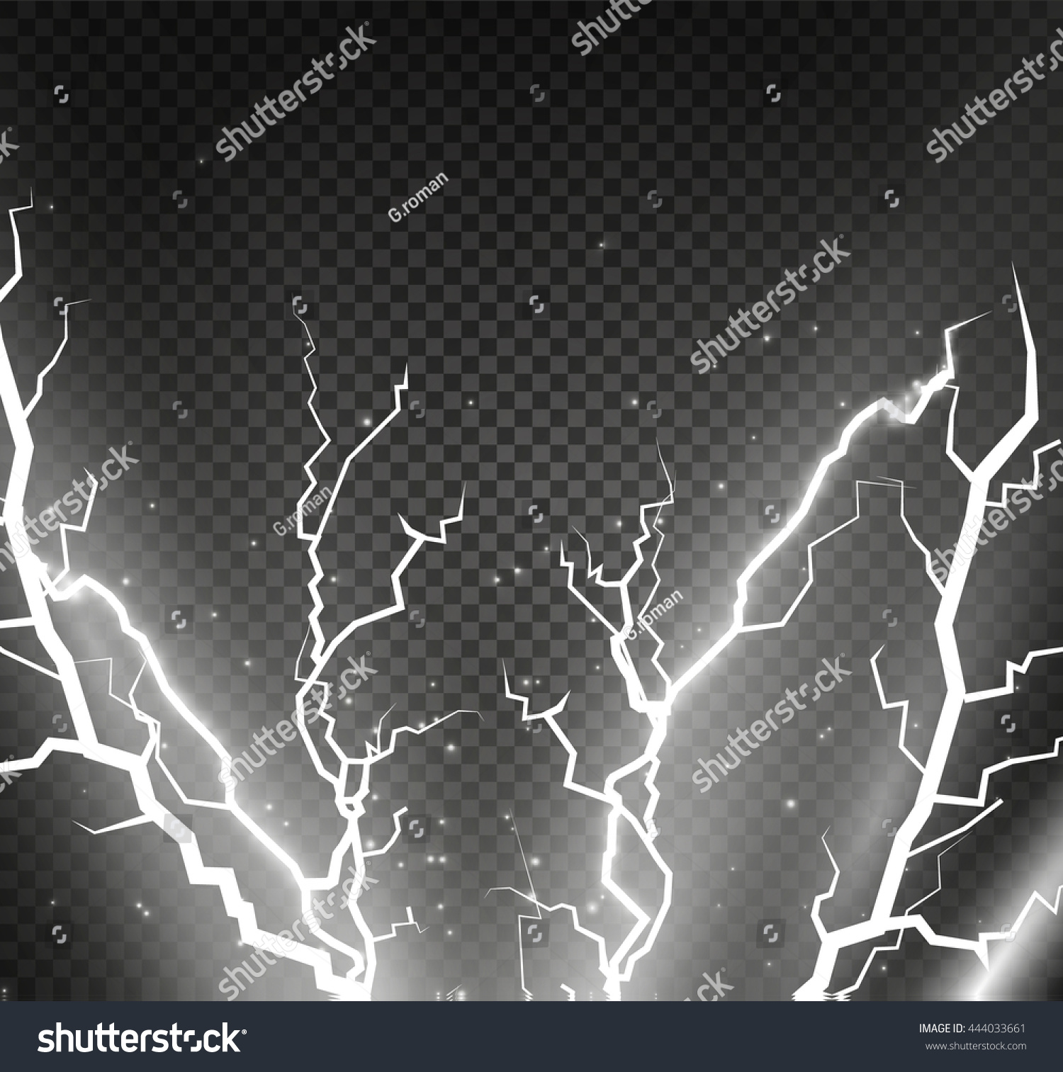 Bright Lightning Electrical Discharge Stock Vector