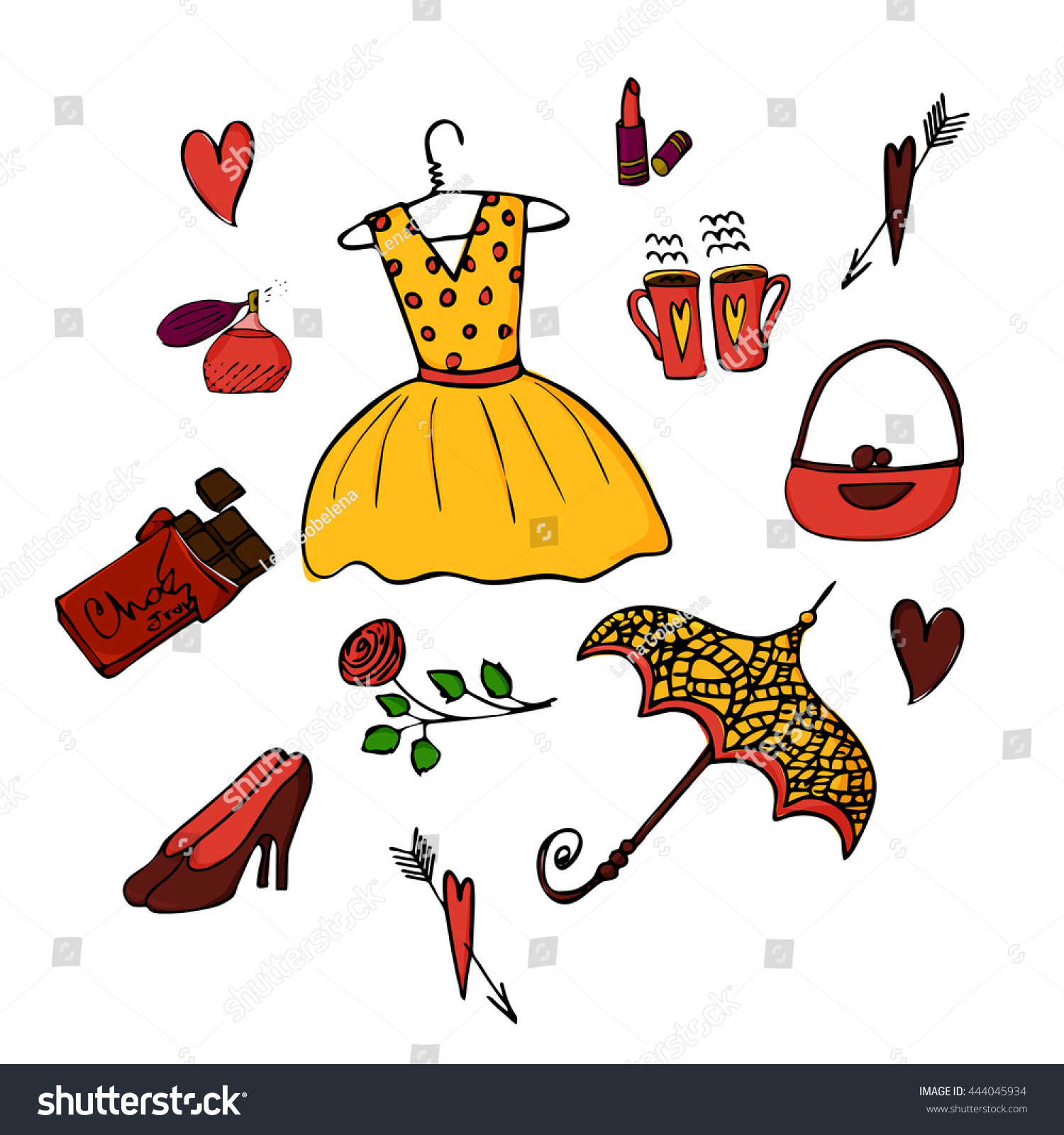Typical French Things Set Vector Hand Stock Vector Royalty Free
