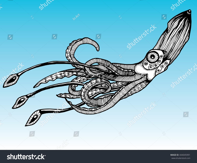 Large Squid Kraken The Inhabitant Of Ocean Glubokokvodny Monster Line Art