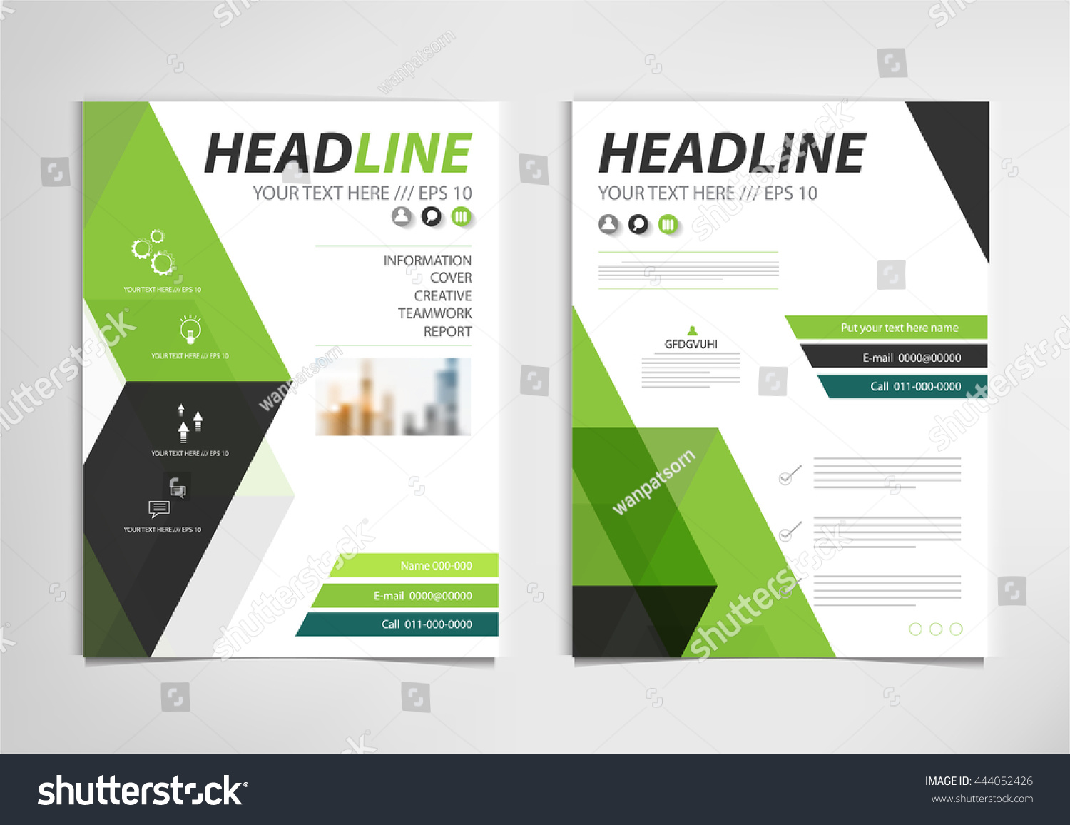 book brochure template - green annual report brochure template design stock vector