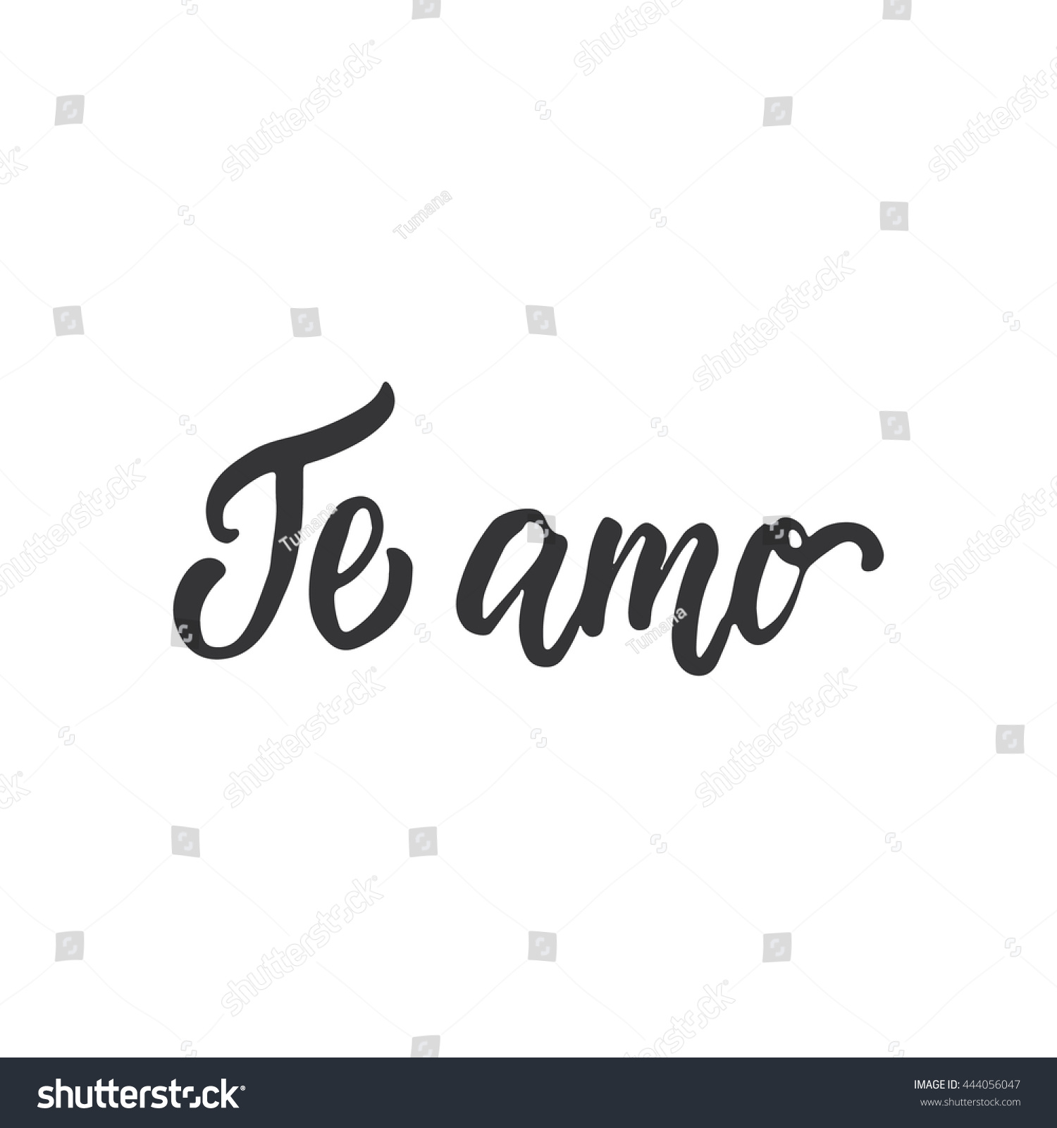 Te amo love you lettering calligraphy stock vector I love you calligraphy