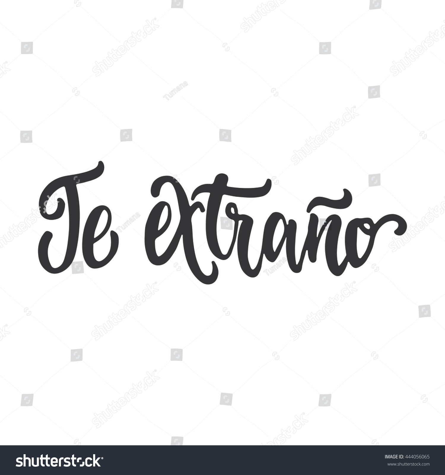 Te extrano miss you lettering calligraphy stock vector 444056065 te extrano i miss you lettering calligraphy phrase in spanish handwritten text isolated altavistaventures Gallery