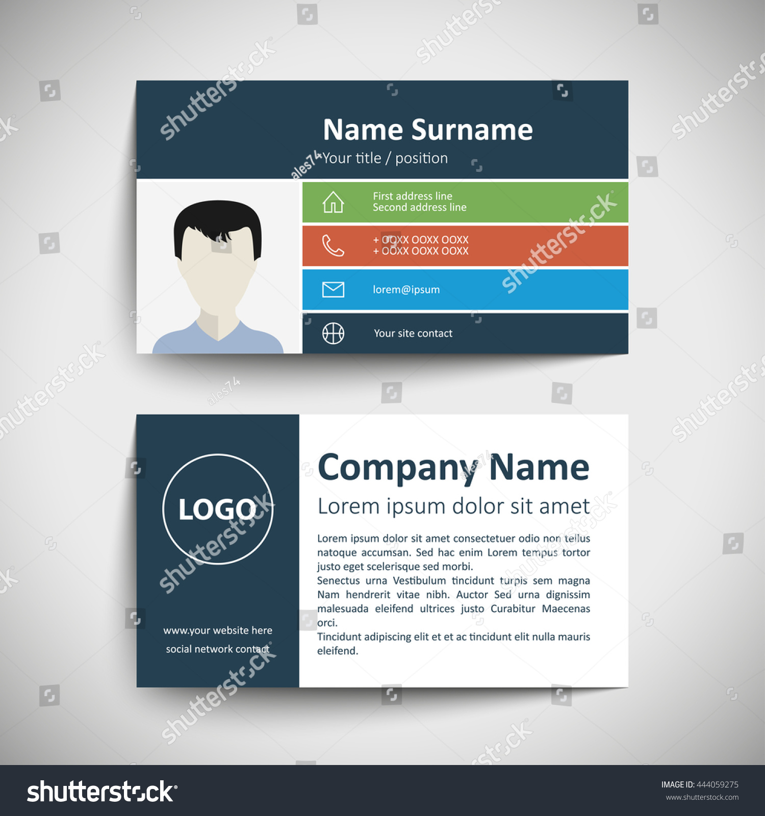 Modern simple business card set template stock vector 444059275 modern simple business card set template or visiting card vector illustration magicingreecefo Gallery