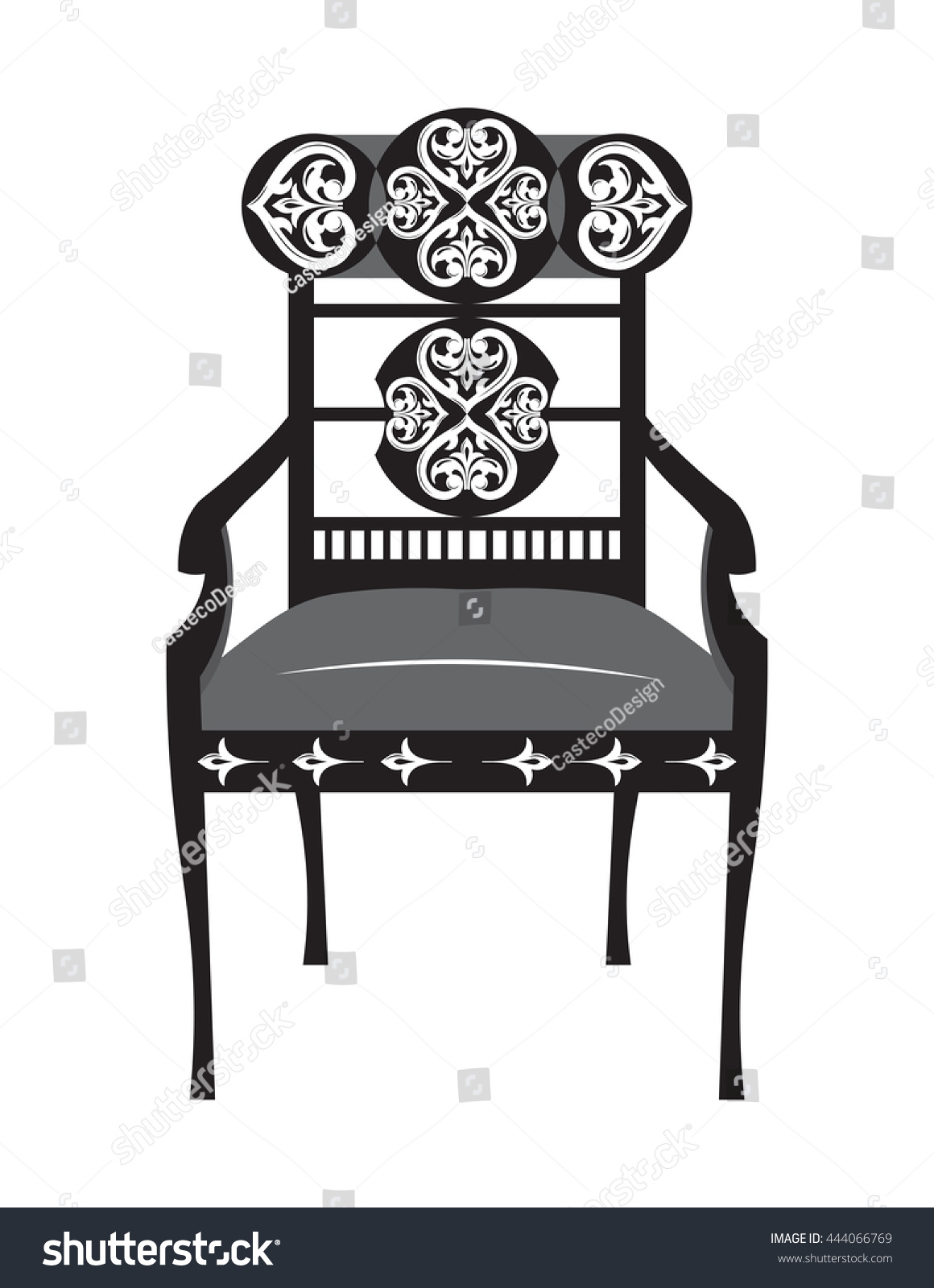 Classic Biedermeier Style Furniture. Chair Throne With Rich Ornaments.  English Carved Ornaments Furniture.