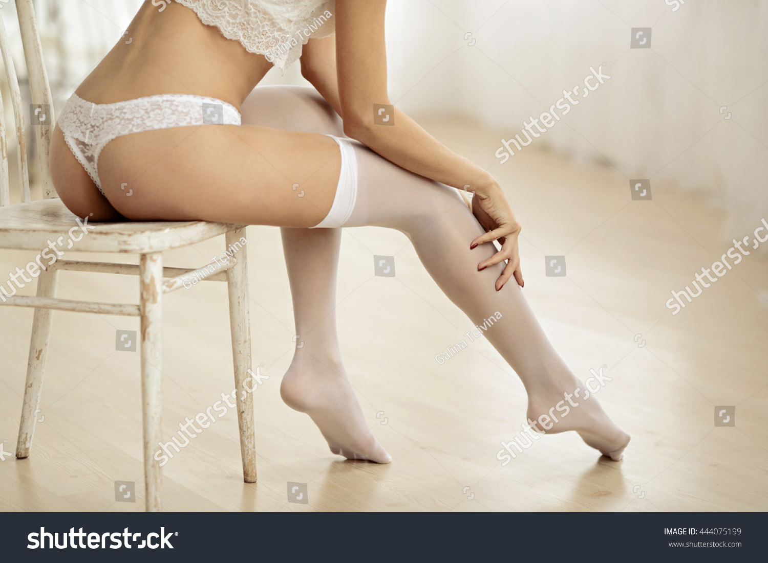 beautiful sexy lady elegant white panties stock photo (edit now