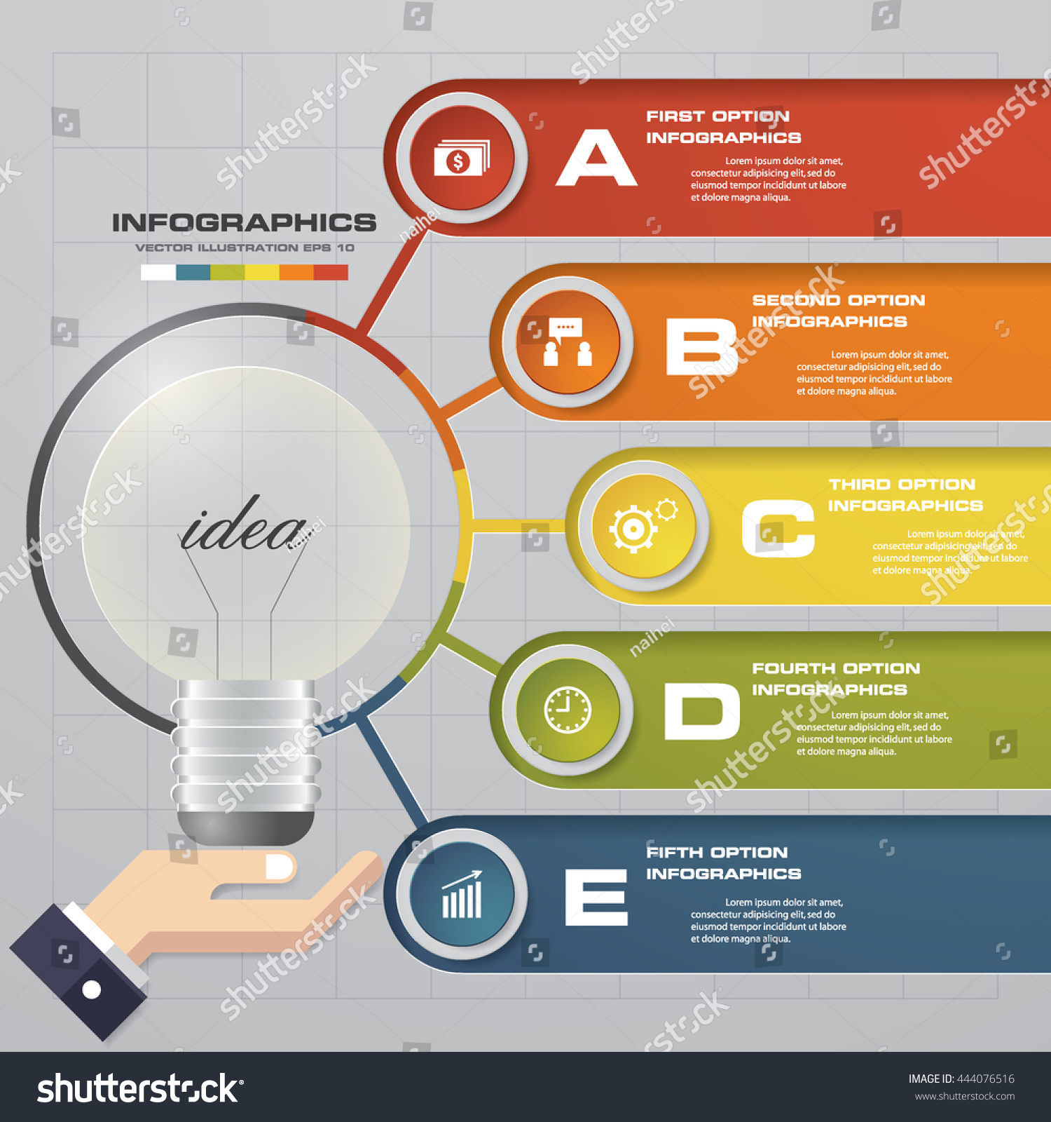 Simple Editable Light Bulb Infographics 5 Stock Vector Royalty Free Lighting Diagram Sample And With Steps Order Text Eps10