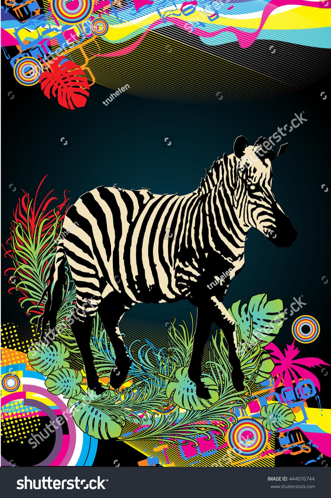 Colorful Zebra Print Nail Art Tutorial: Vector Illustration Zebra Colorful Background Stock Vector