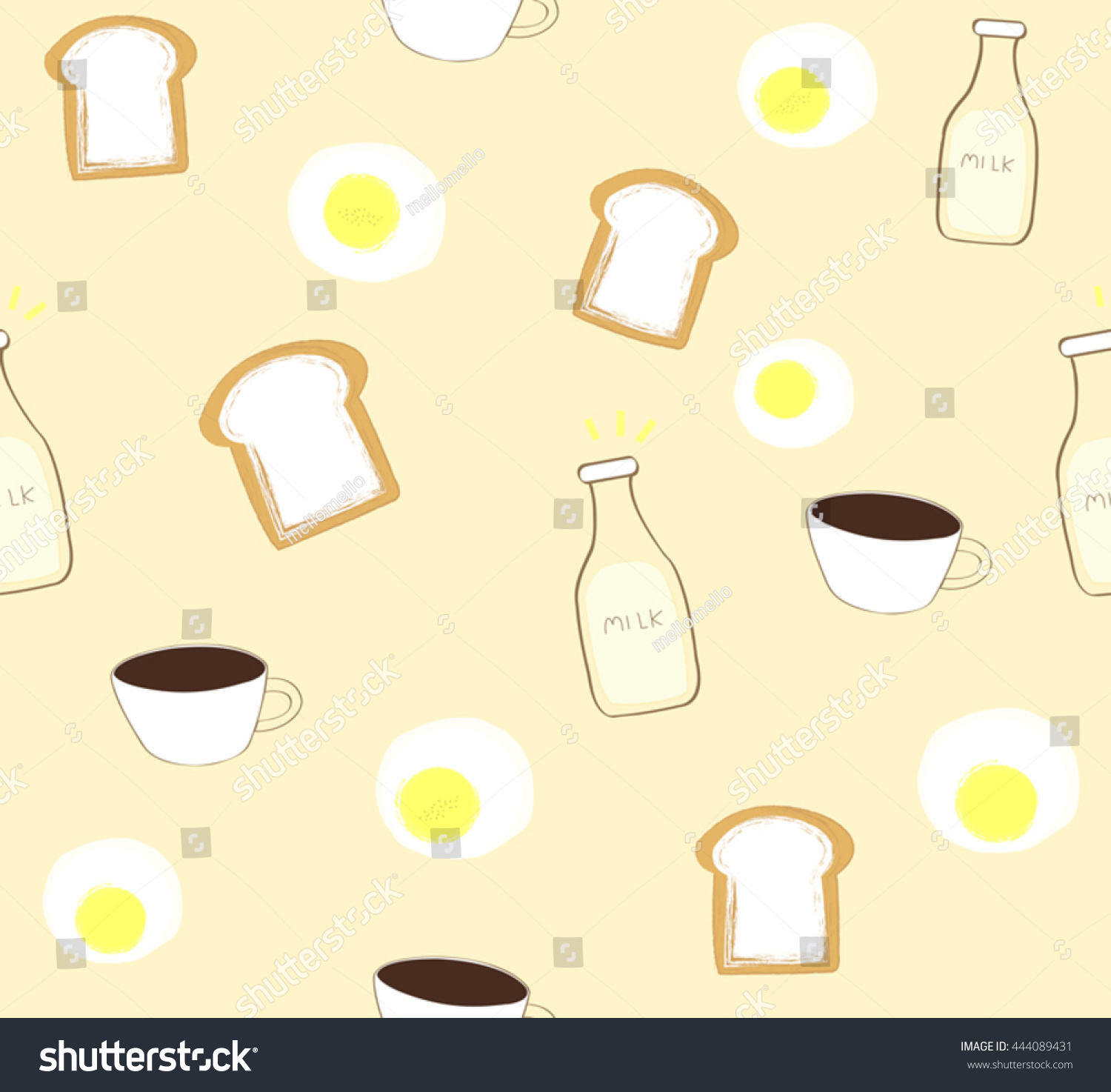 Cute Breakfast Bread Coffee Milk Fried Stock Vector Royalty Free 444089431