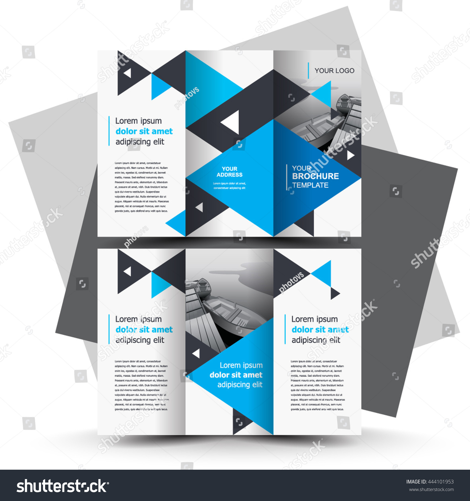 Brochure design business brochure template creative stock vector brochure design business brochure template creative tri fold trend brochure triangles blue accmission Choice Image