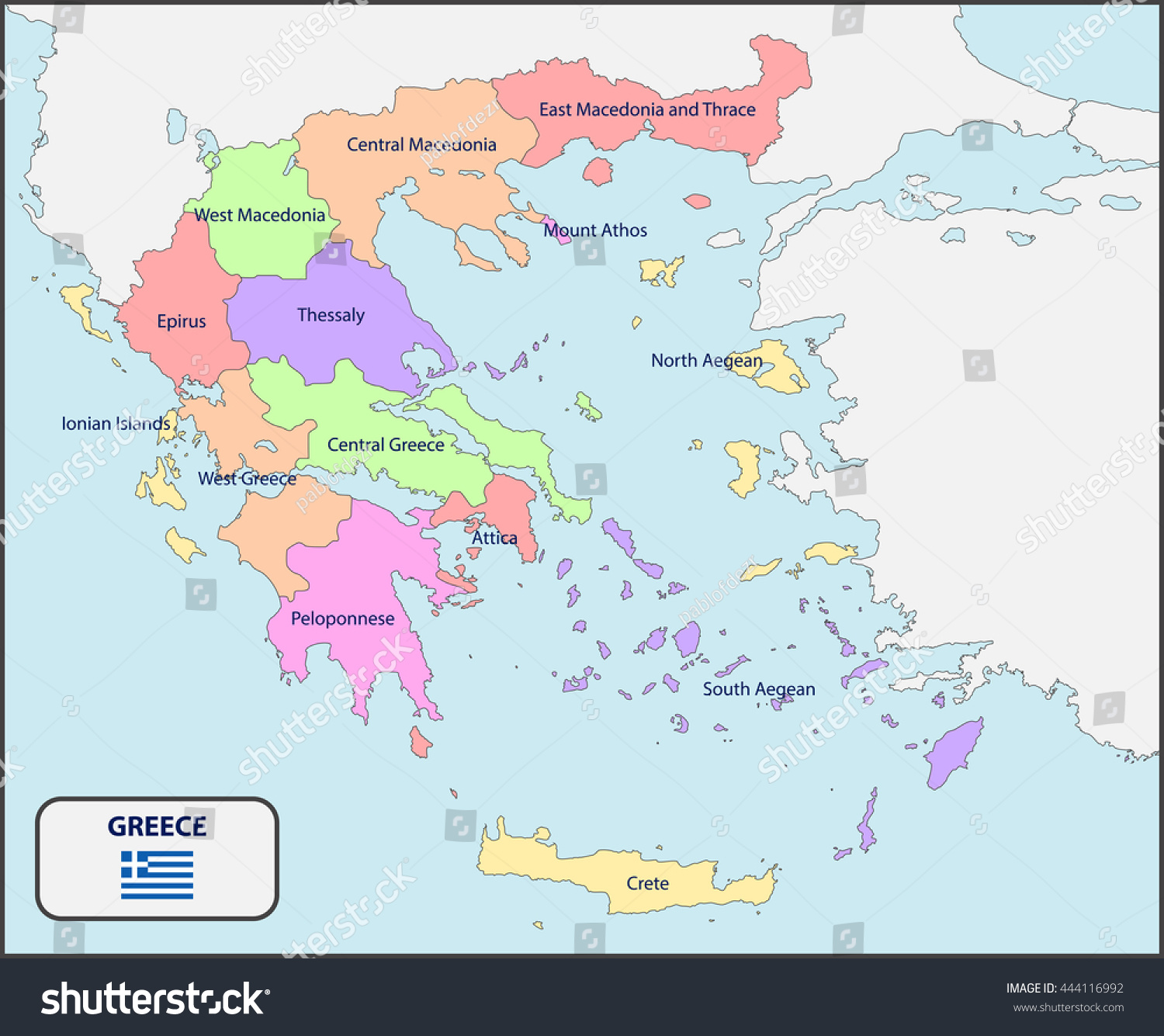 Political Map Greece Names Stock Vector Shutterstock - Political map of greece