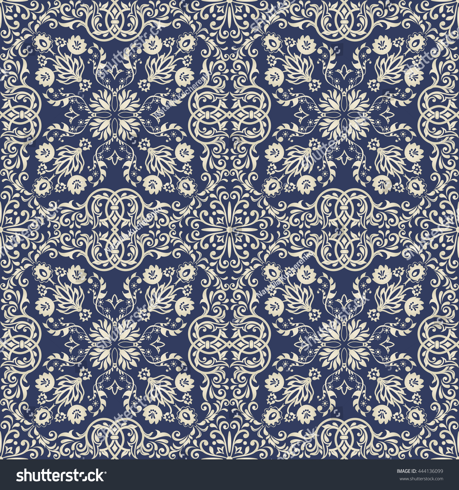 seamless damask pattern dark blue gold stock vector seamless damask pattern in dark blue and