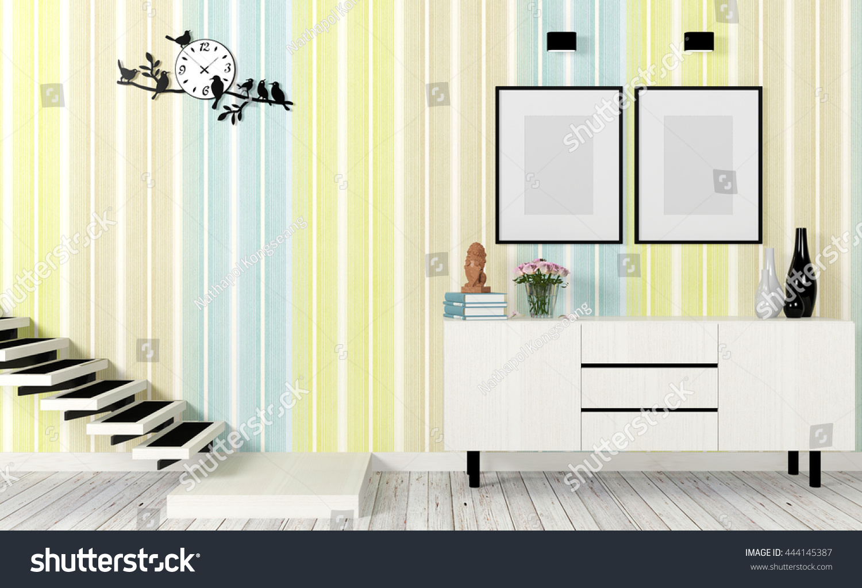 Modern Living Room Interior Colorful Wall Stock Illustration ...