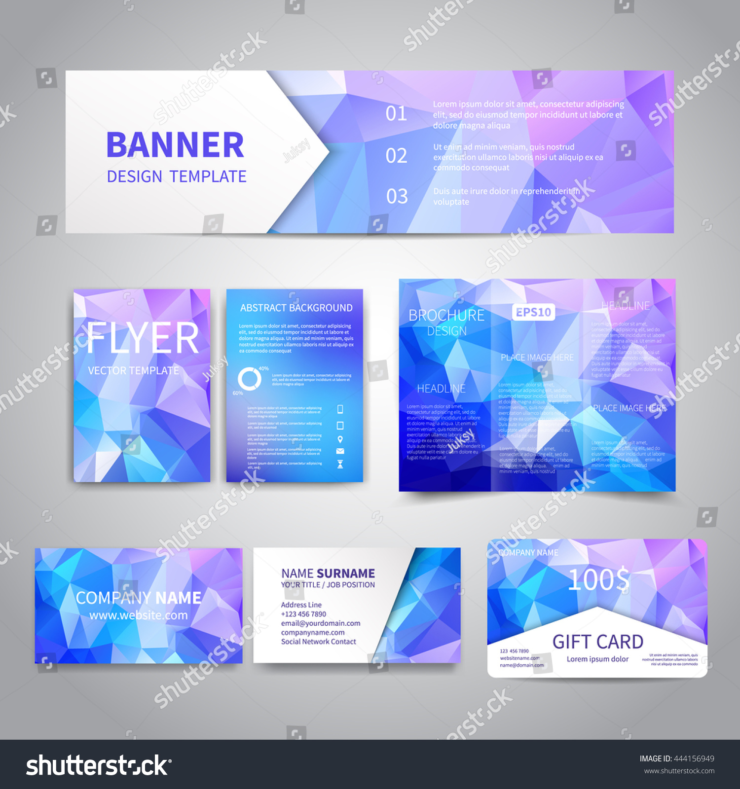 banner flyers brochure business cards gift stock vector  banner flyers brochure business cards gift card design templates set geometric