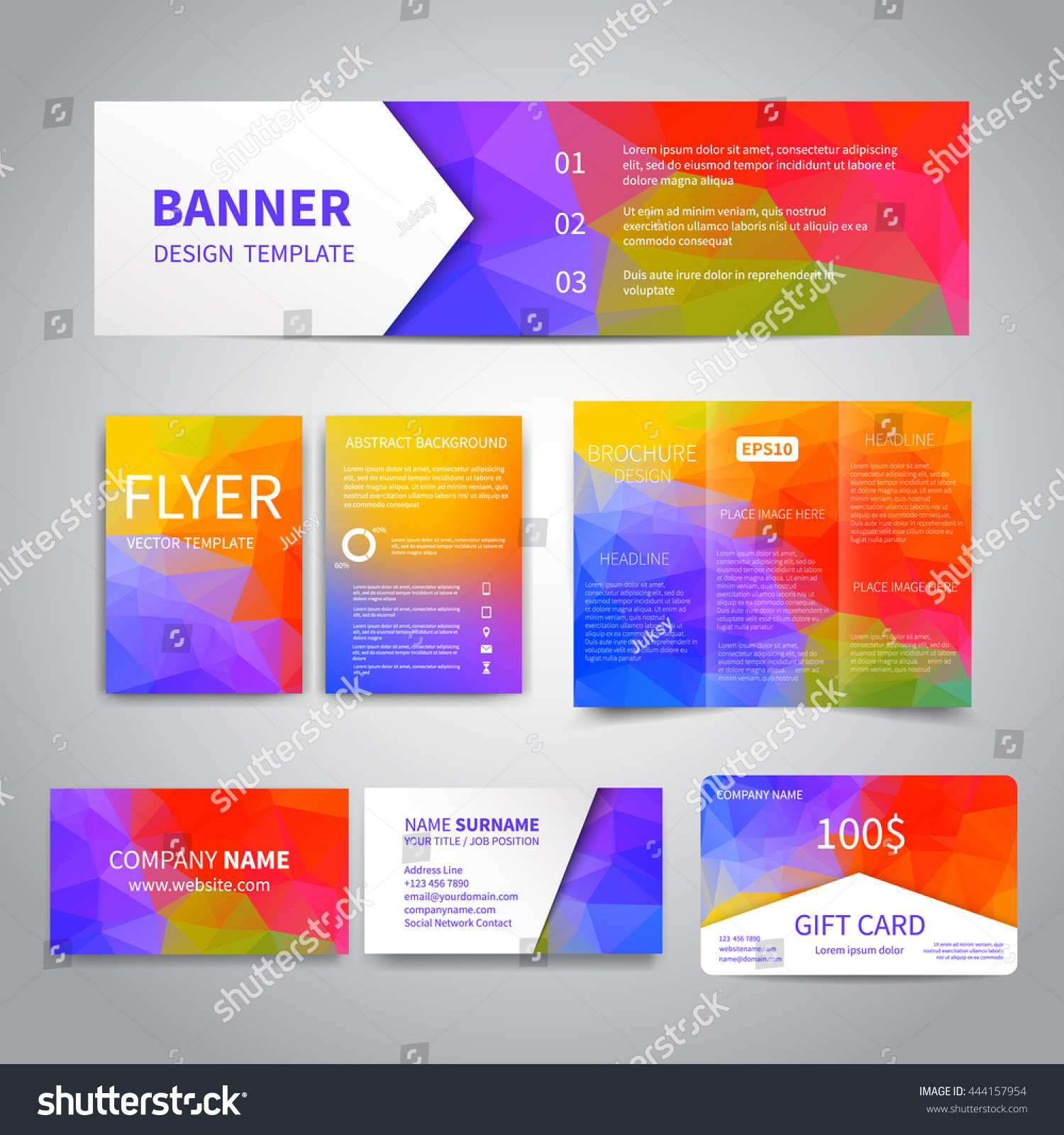 Banner flyers brochure business cards gift stock vector 444157954 banner flyers brochure business cards gift card design templates set with geometric magicingreecefo Image collections