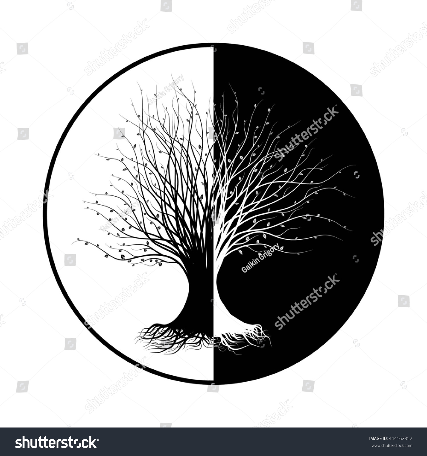 Black White Silhouette Tree Element Your Stockillustratie 444162352