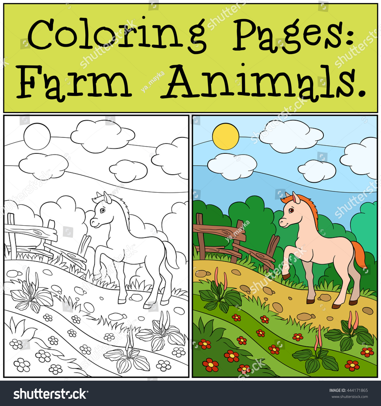 coloring pages farm animals little cute stock vector 444171865