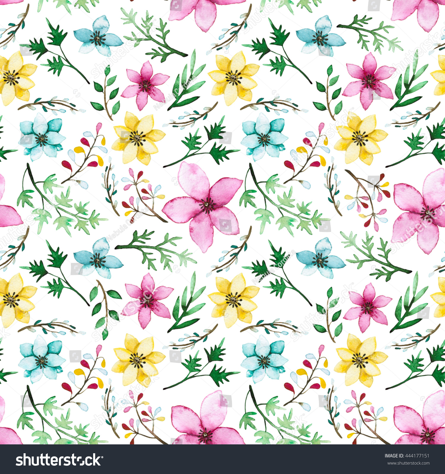 Watercolor Pink Blue Yellow Flowers Green Stock Illustration