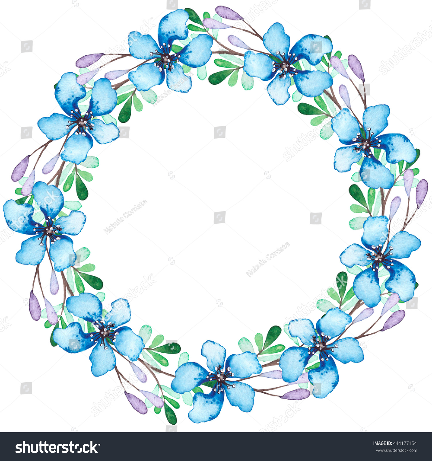 Wreath watercolor blue flowers green violet stock illustration wreath with watercolor blue flowers green and violet leaves izmirmasajfo Gallery