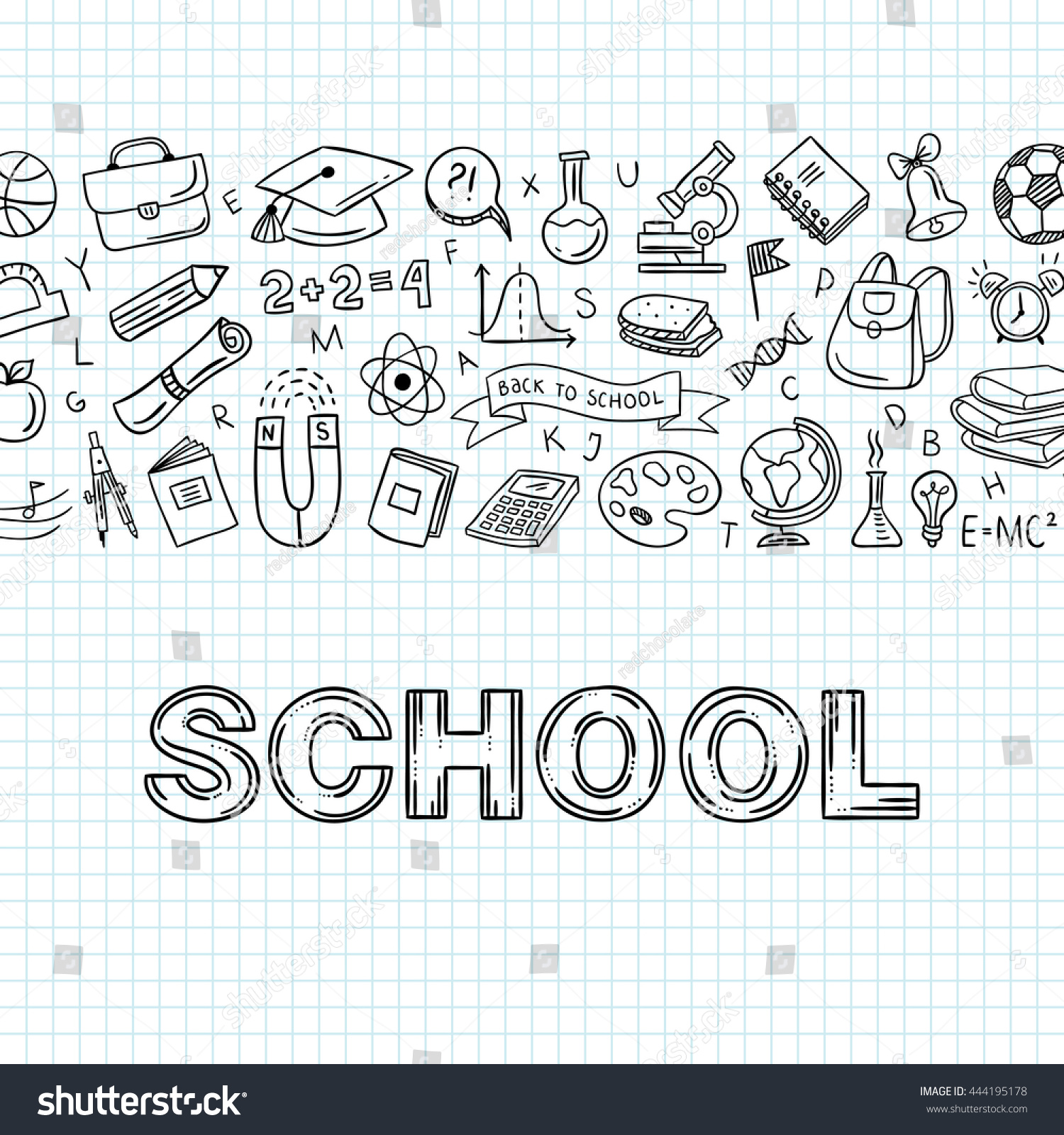 Outline School Icons Doodle Symbols Education Stock Vector Royalty
