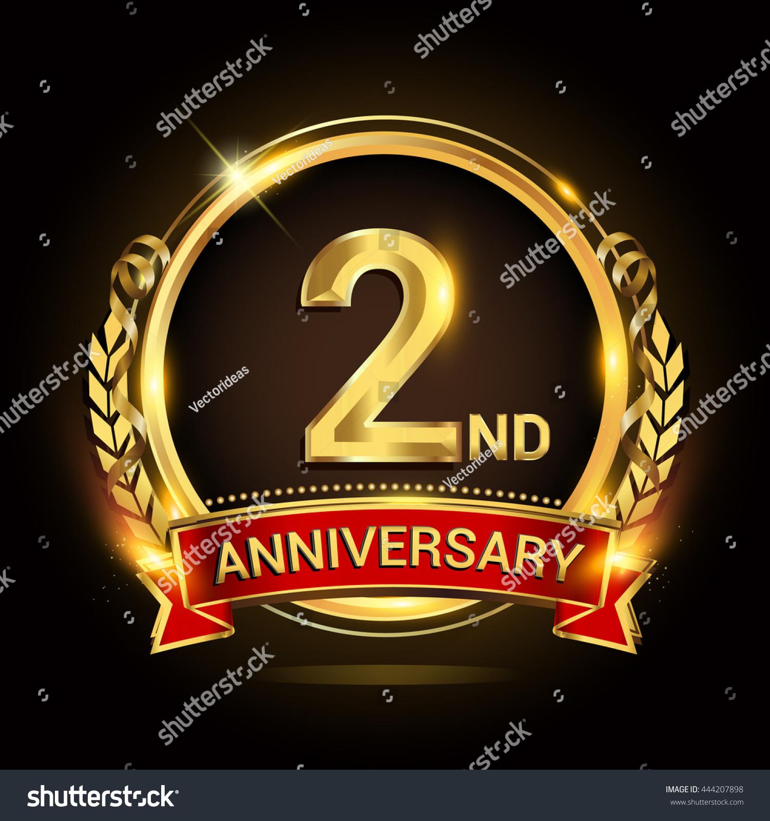 Nd golden anniversary logo shiny ring stock vector