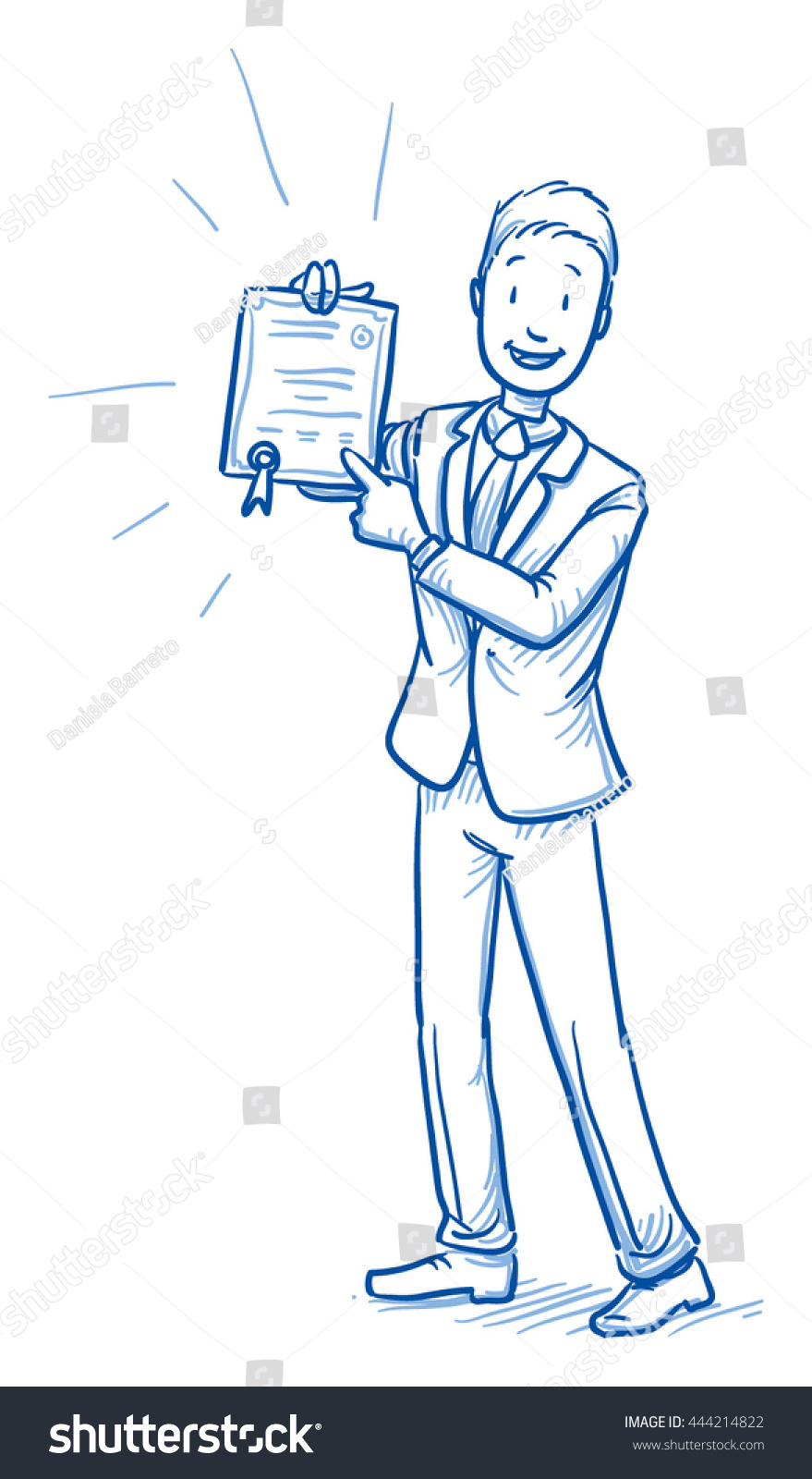 Happy young man in business suit showing his certificate diploma award Hand drawn line art cartoon vector illustration