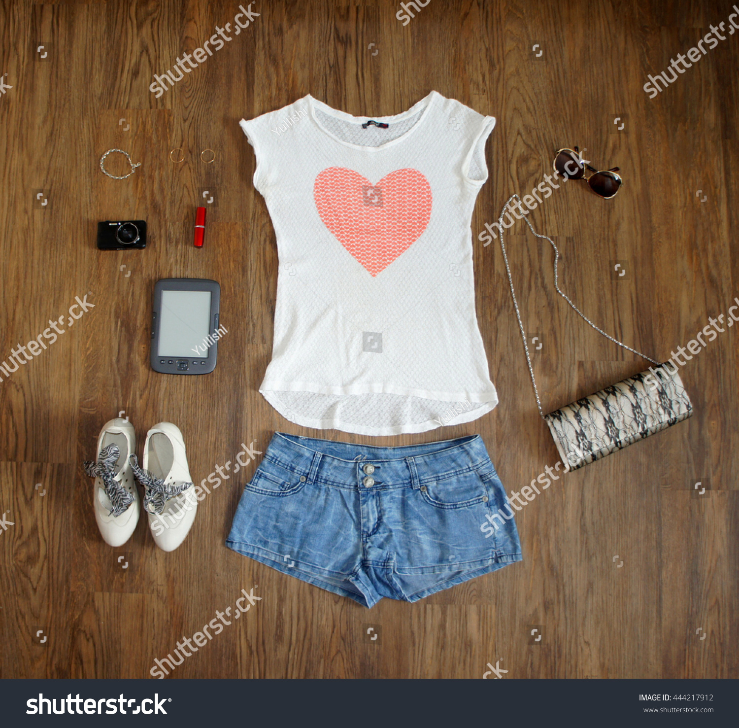 1eab6abffdb6 flat lay feminine clothes and accessories collage: white t-shirt with  hearts, Jean.