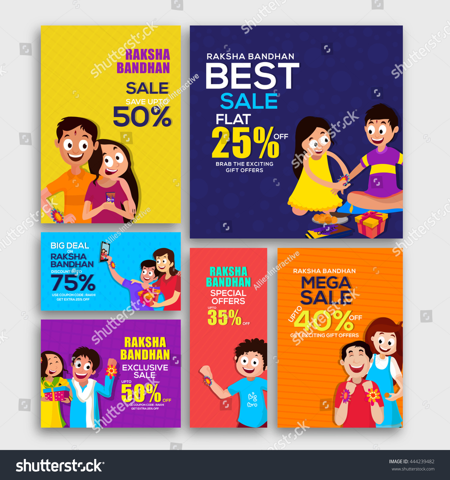 Raksha Bandhan Sale with Discount Offer Creative Social Media Post Header or Banner set with cute characters Concept for Indian Festival of Brothers and Sisters celebration