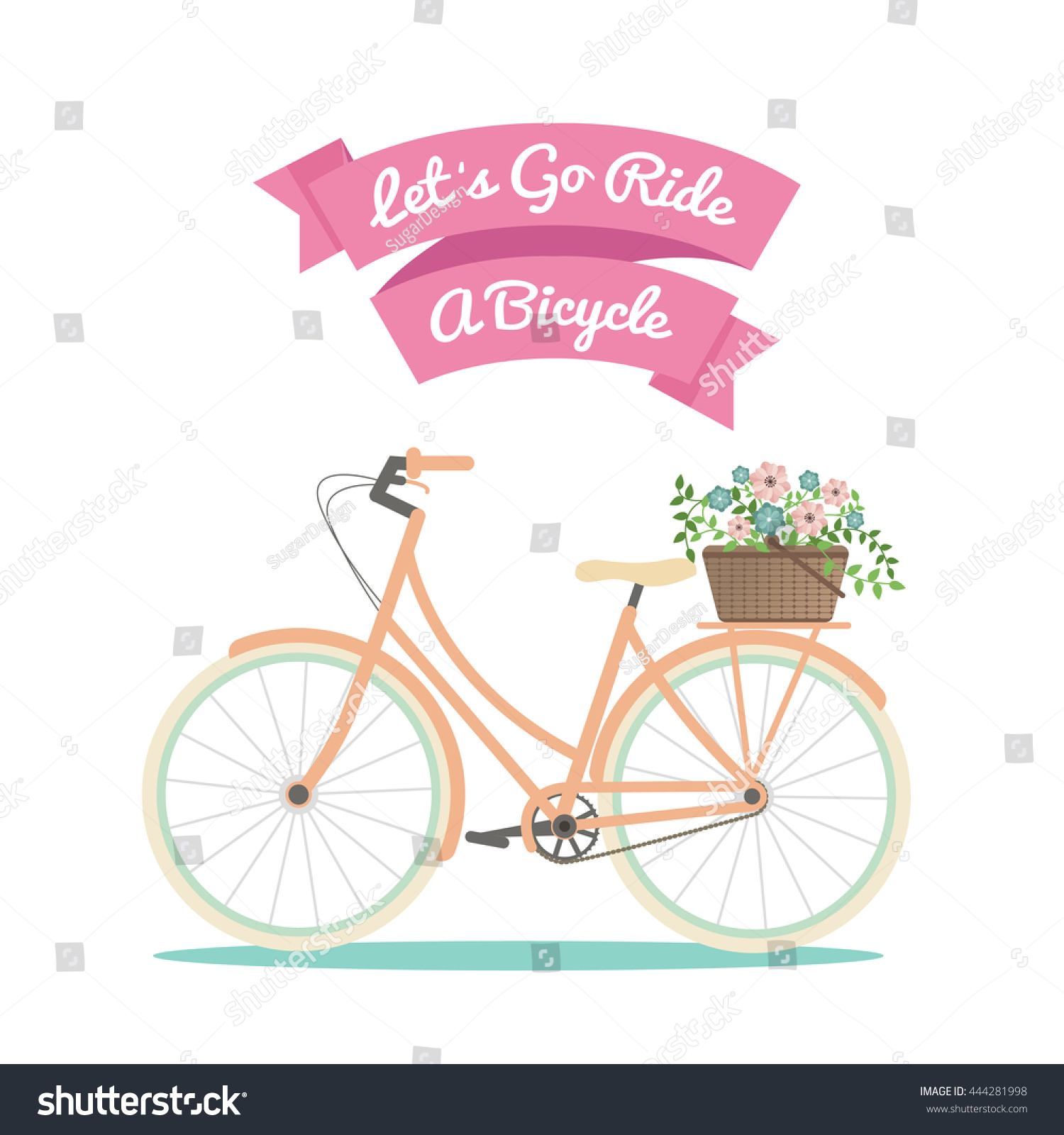 Bicycle Background Vector Stock Vector 444281998 ...