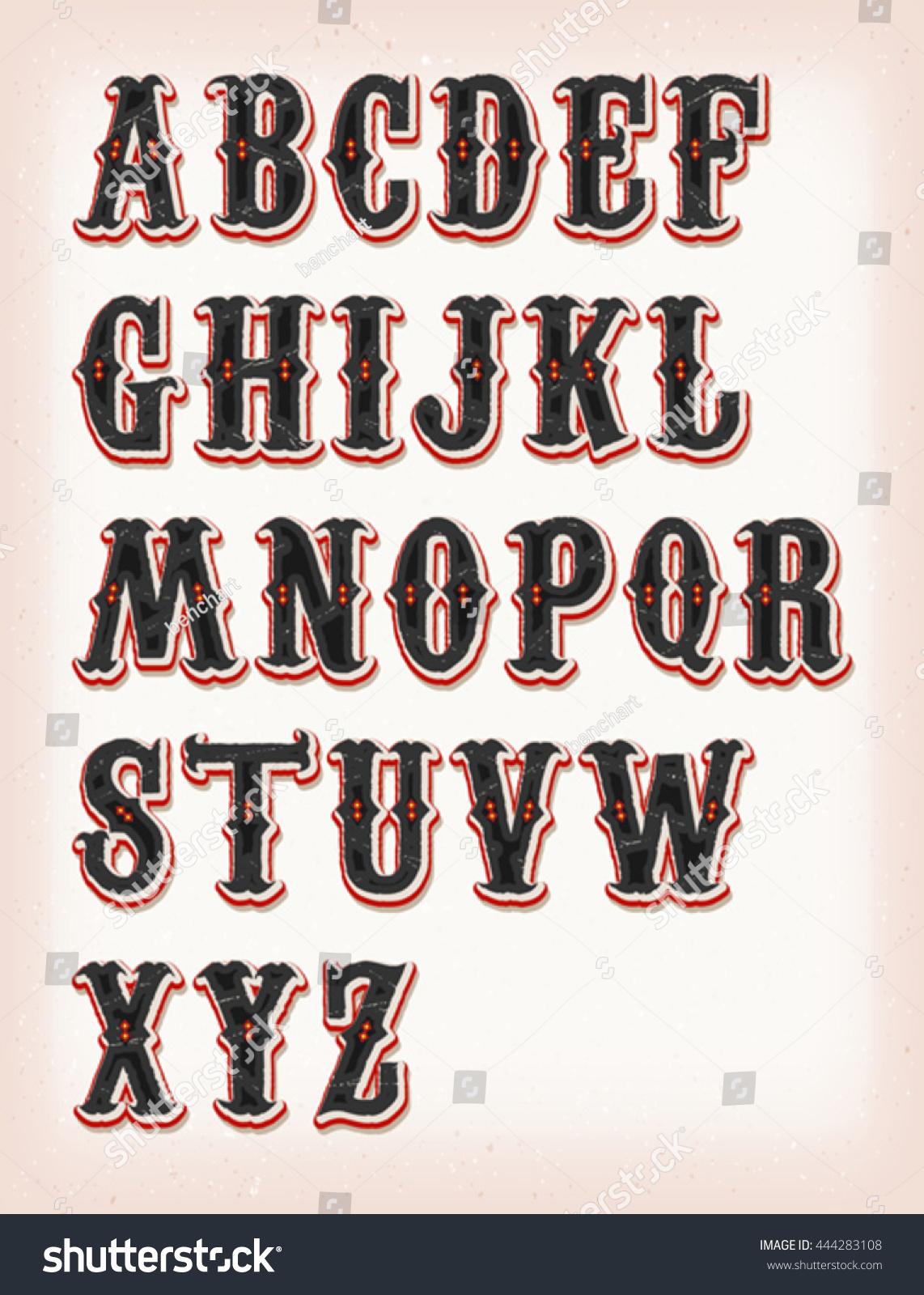 Vintage Circus Western Abc Font Illustration Set Stock