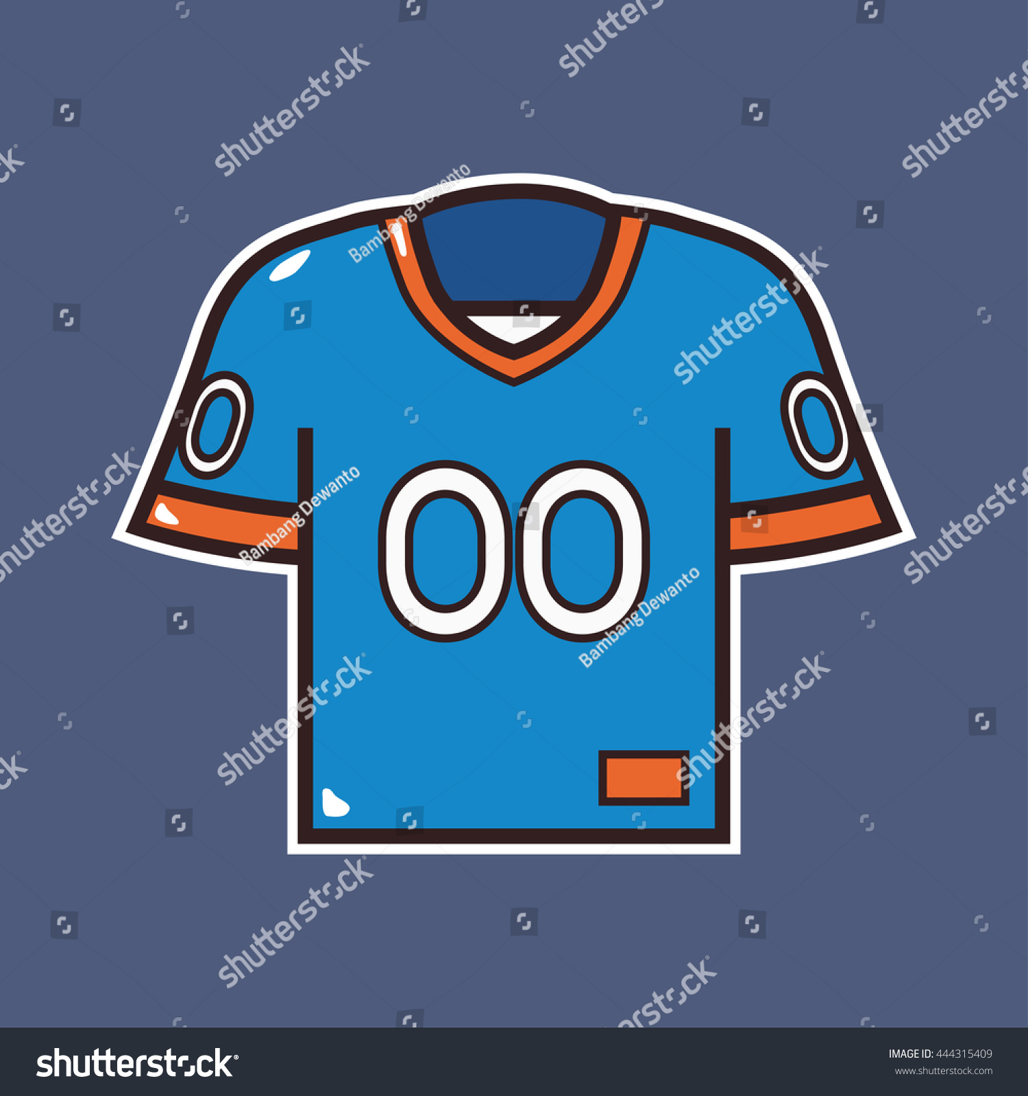 cartoon american football jersey icon outline stock vector