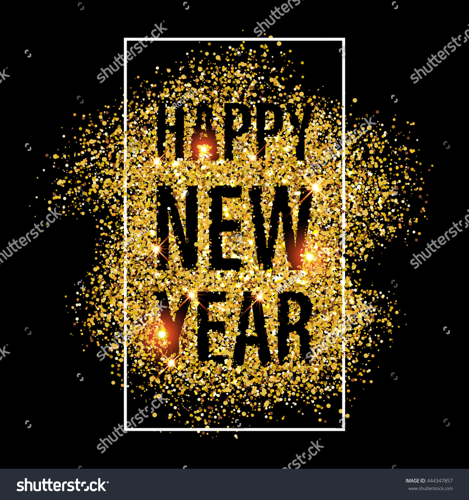 gold glitter happy new year 2018 background glittering texture gold sparkles with frame